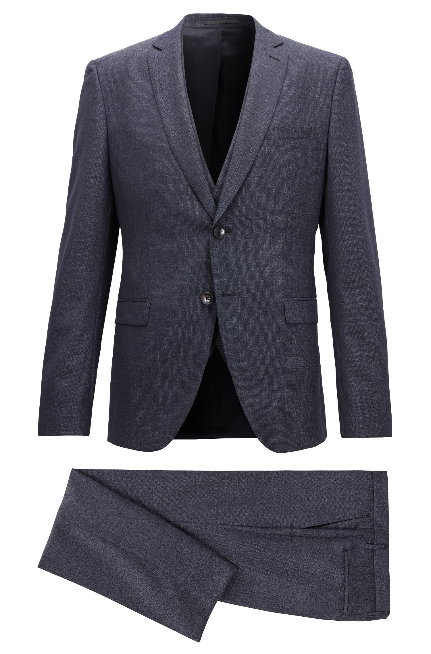 Extra-slim-fit three-piece suit in virgin wool, Open Blue