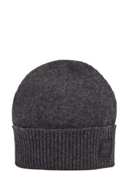 Boss Beanie Hat With Turnback Ribbed Hem In Dark Grey
