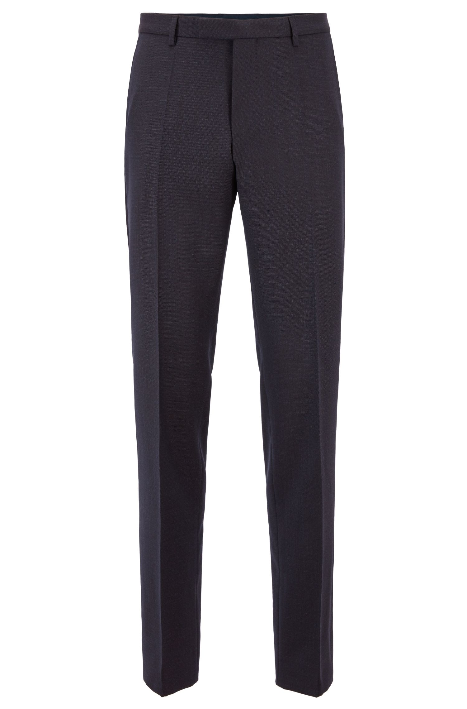 Constructed regular-fit suit in patterned virgin wool, Open Blue
