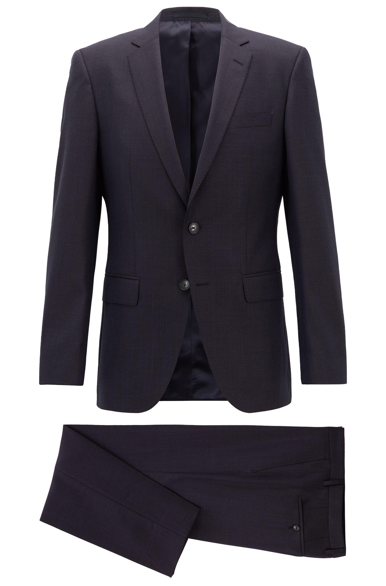 Slim-fit suit in patterned virgin wool, Open Blue