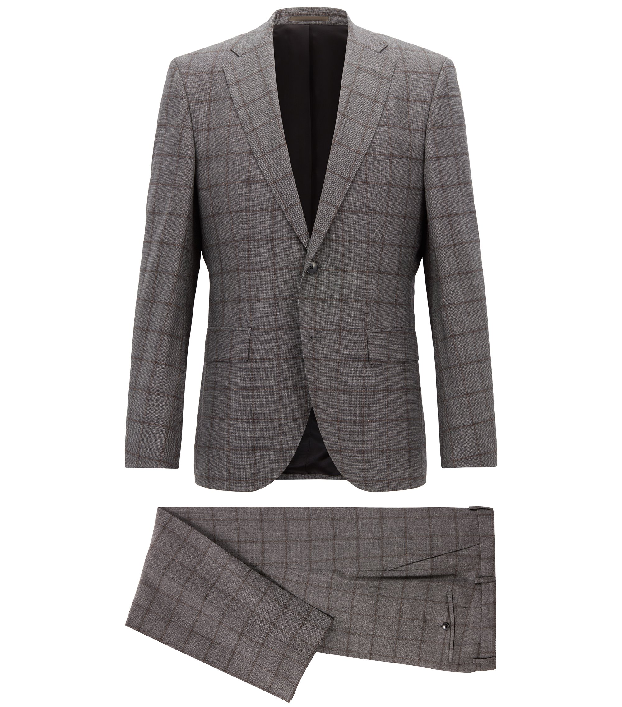 Constructed regular-fit suit in checkered virgin wool, Open Grey