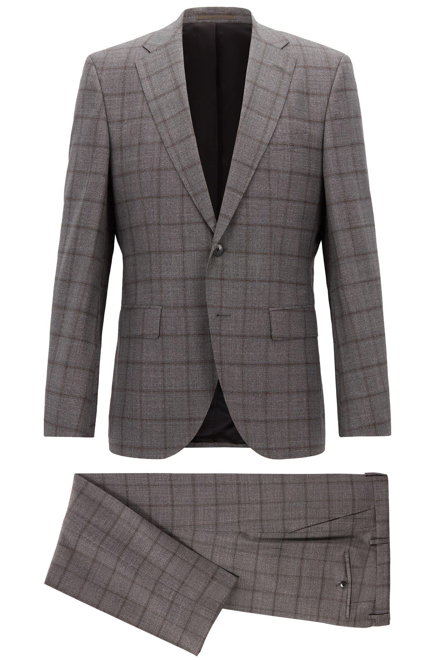 Constructed regular-fit suit in checkered virgin wool, Open Grey