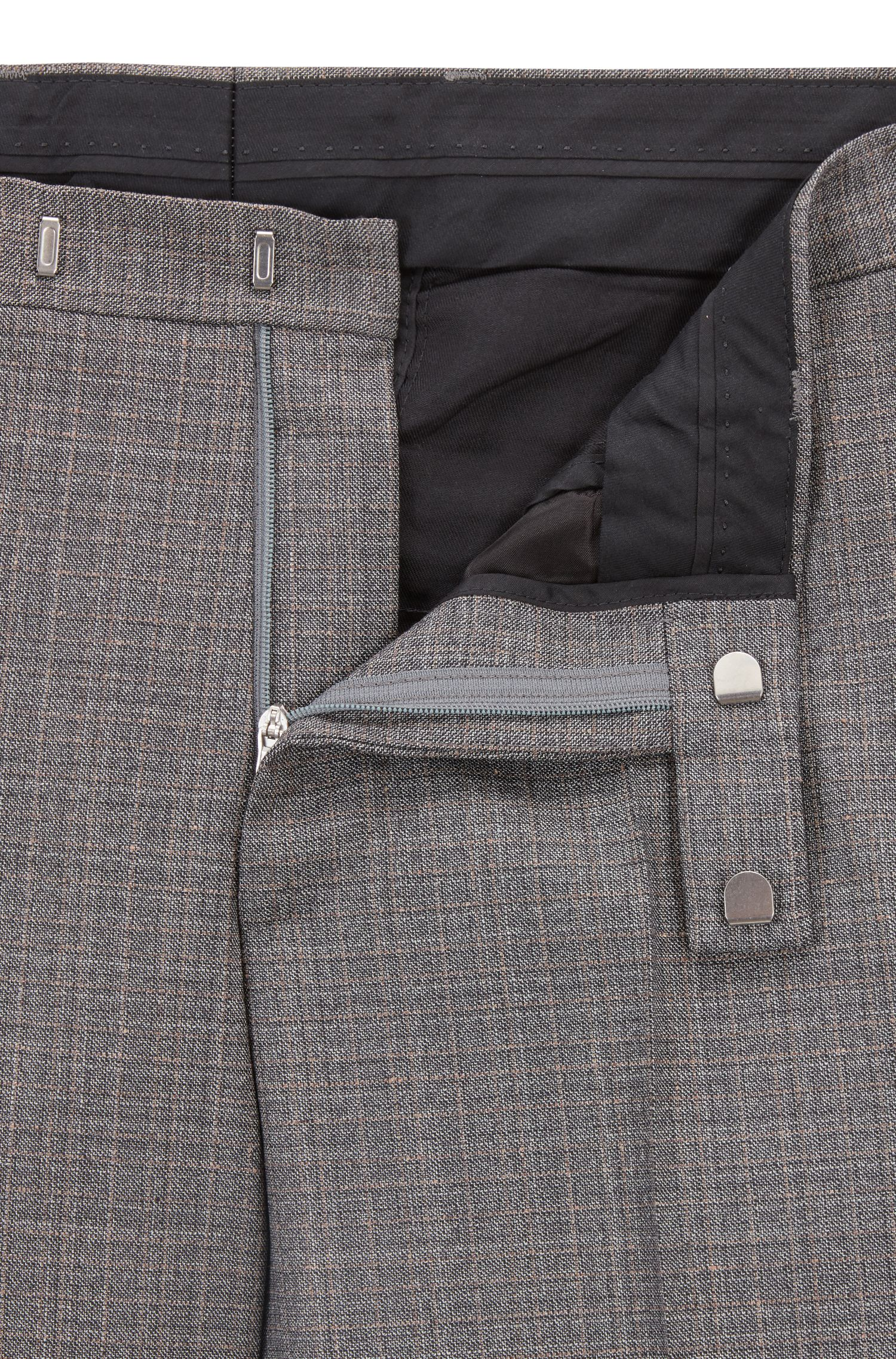 Regular-fit suit in patterned virgin wool, Open Grey