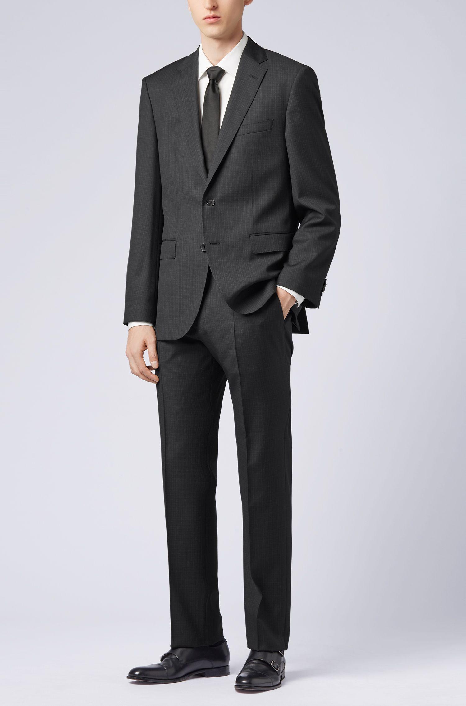 Regular-fit suit in patterned virgin wool serge, Black