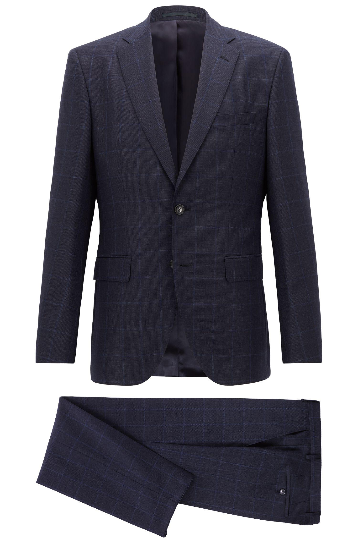 Regular-fit suit in checkered virgin wool serge, Open Blue