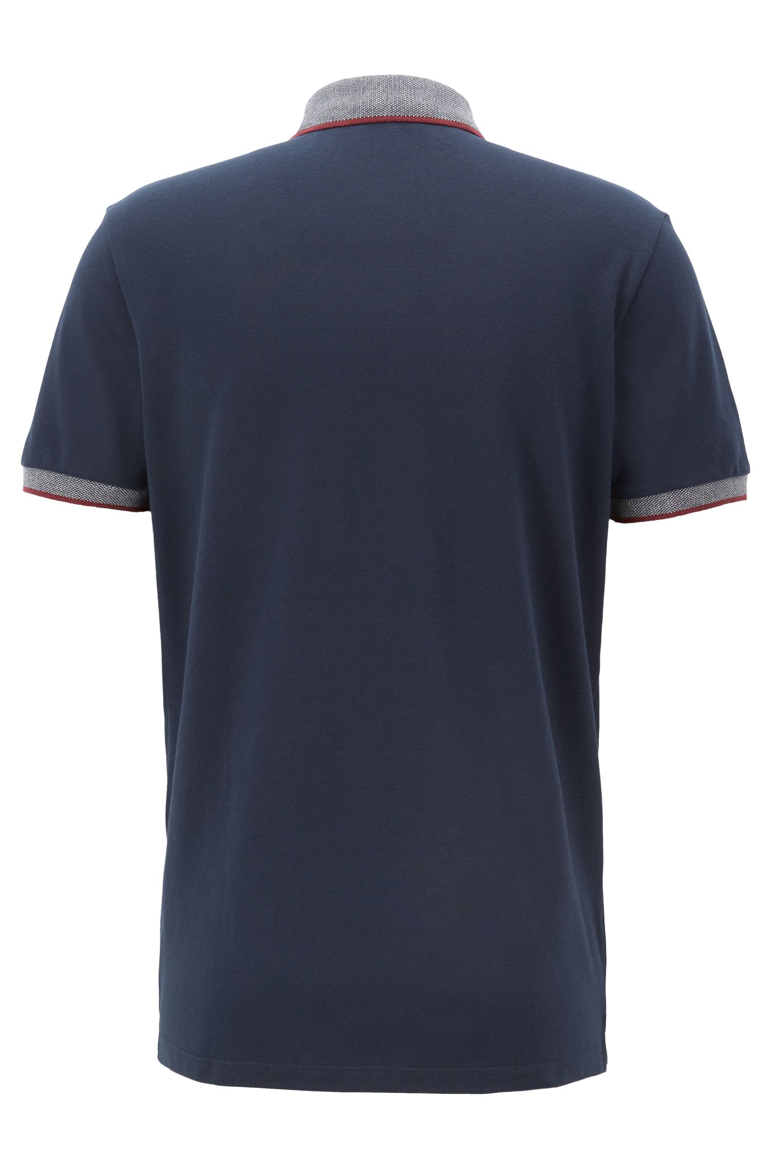 Relaxed-fit polo shirt with contrast tape trims, Dark Blue