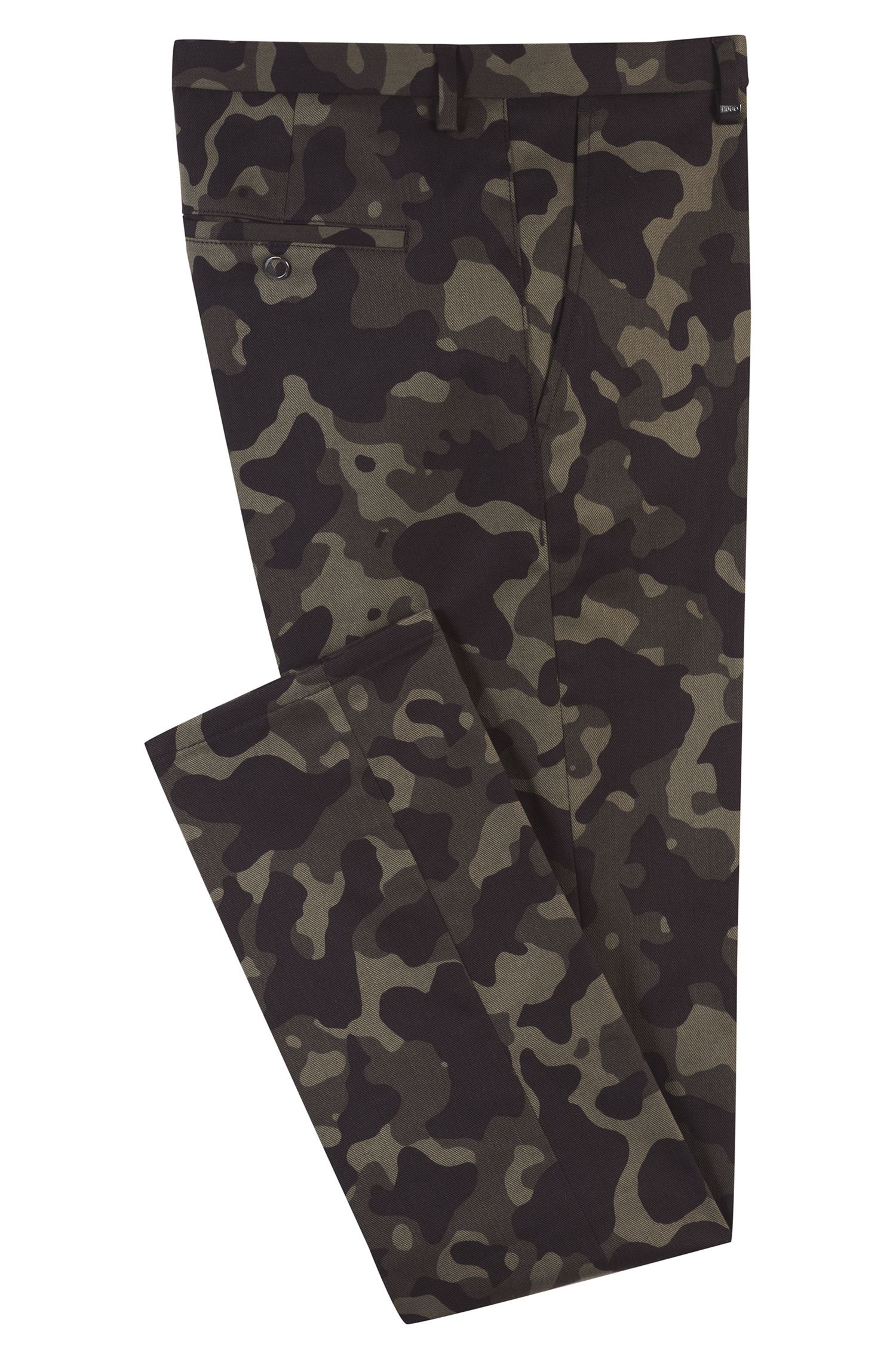 Slim-fit pants in stretch cotton with camouflage print, Dark Green