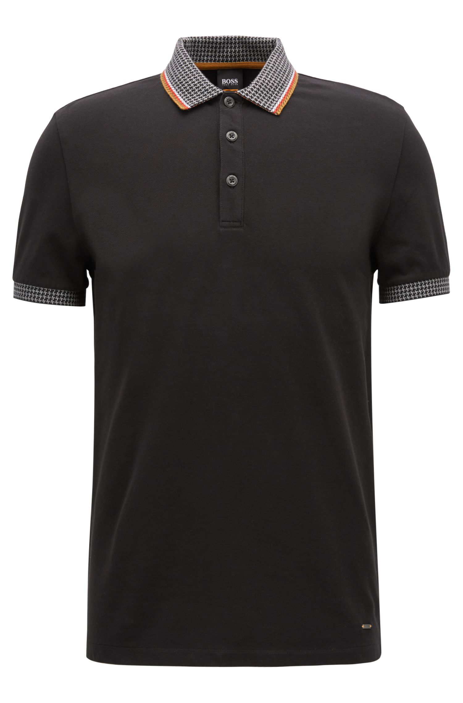 Stretch-piqué polo shirt with houndstooth collar and cuffs, Black