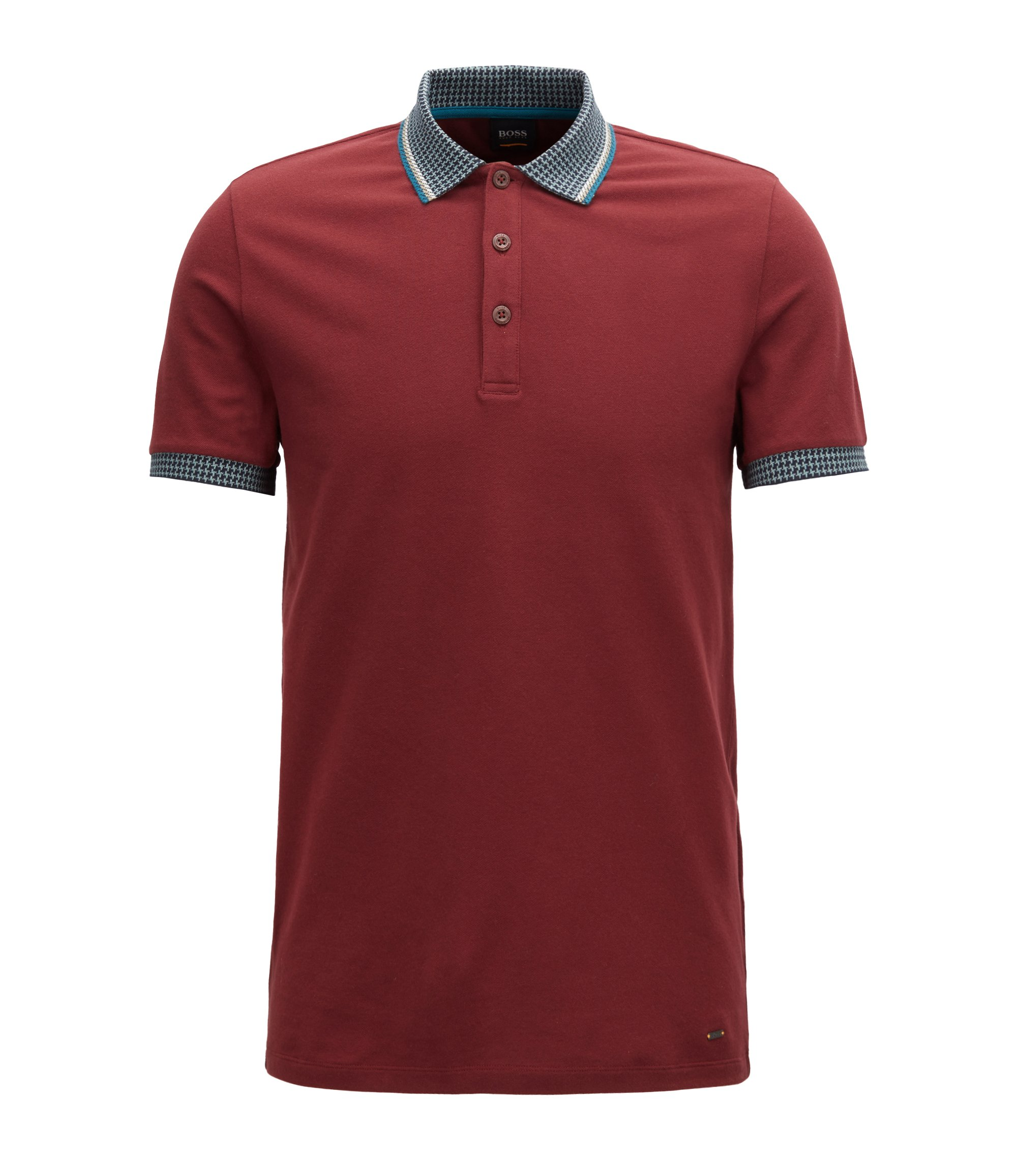 Stretch-piqué polo shirt with houndstooth collar and cuffs, Open Red