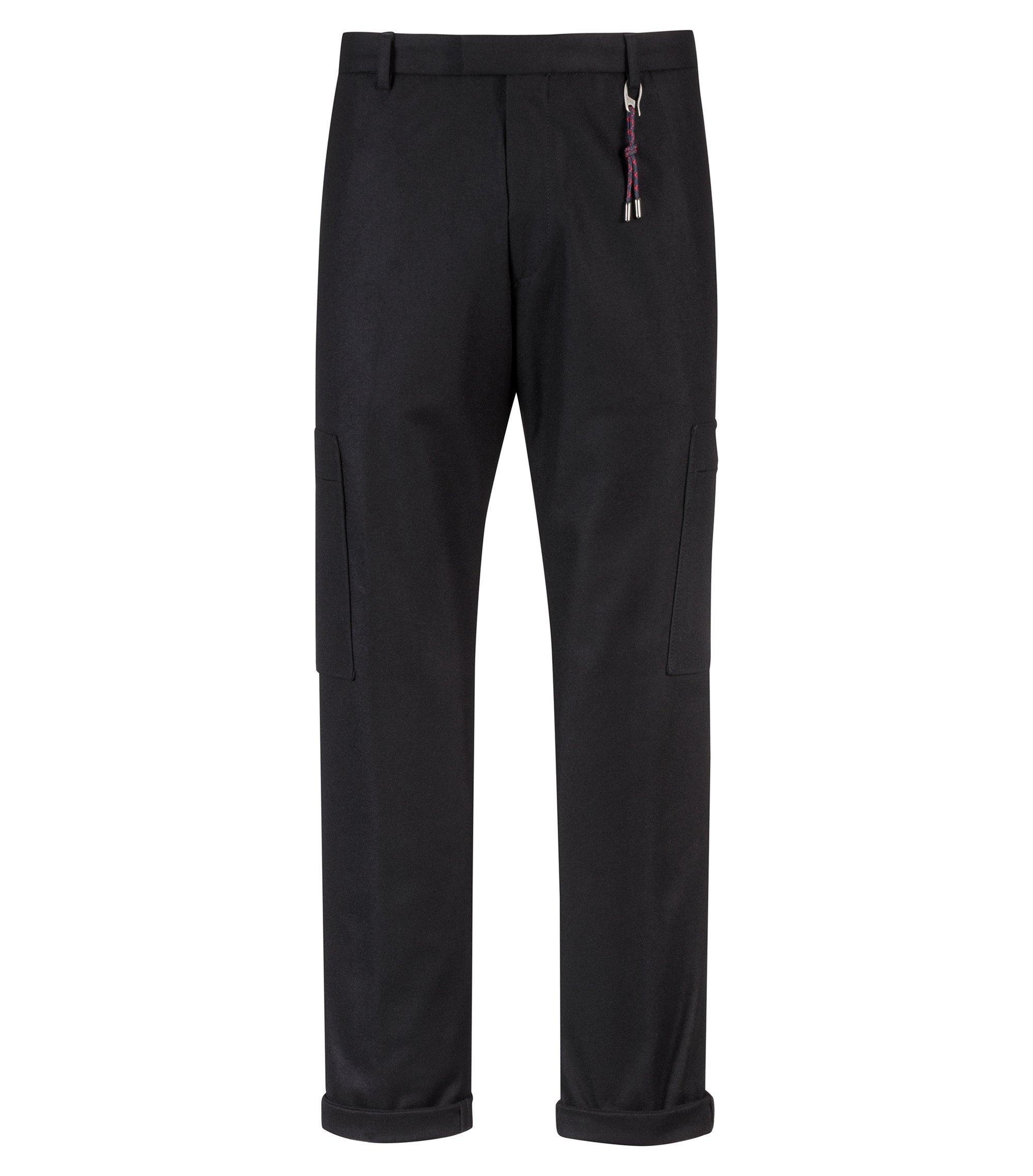 Slim-fit pants in a felt-effect wool blend, Black