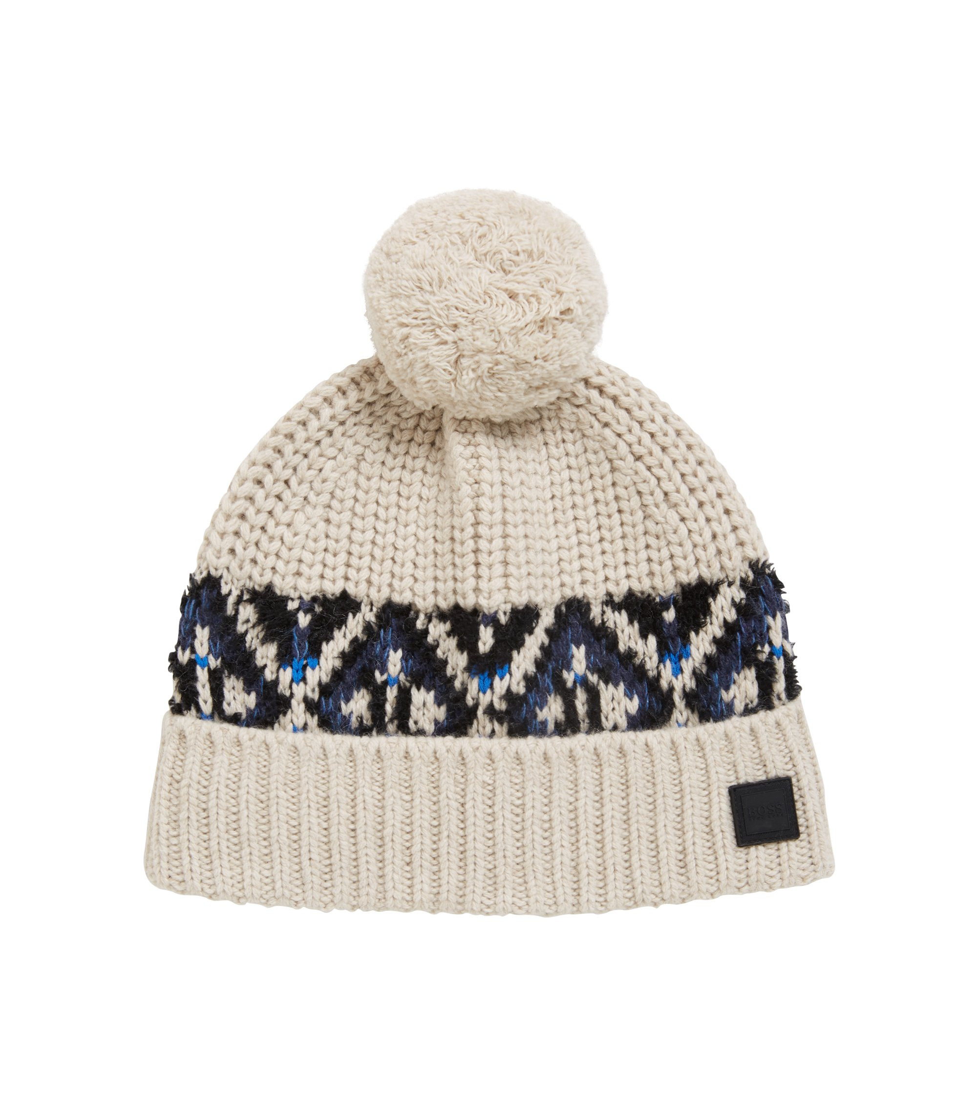 Fair Isle beanie hat in a textured yarn blend, Open Beige