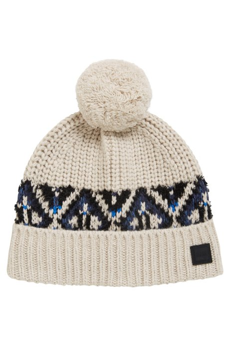 e88a8379feb BOSS - Fair Isle beanie hat in a textured yarn blend