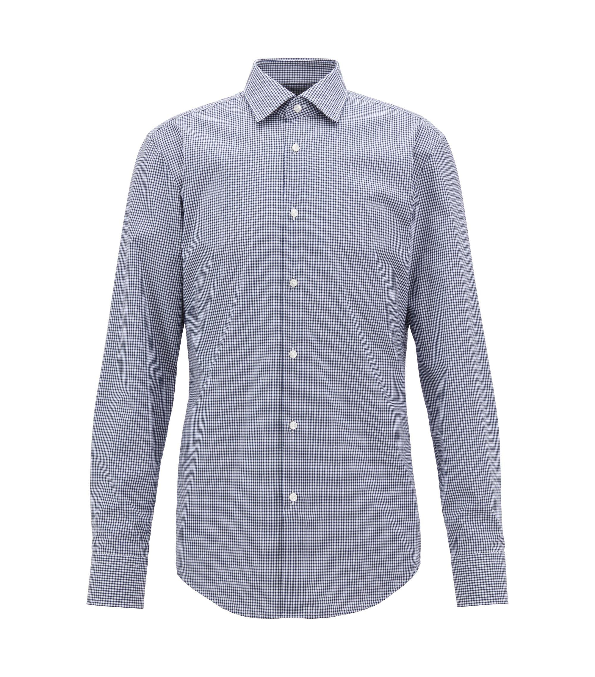 Checkered slim-fit shirt in easy-iron cotton, Dark Blue