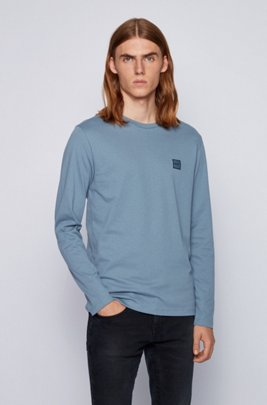 Long-sleeved T-shirt in washed single-jersey cotton, Dark Grey