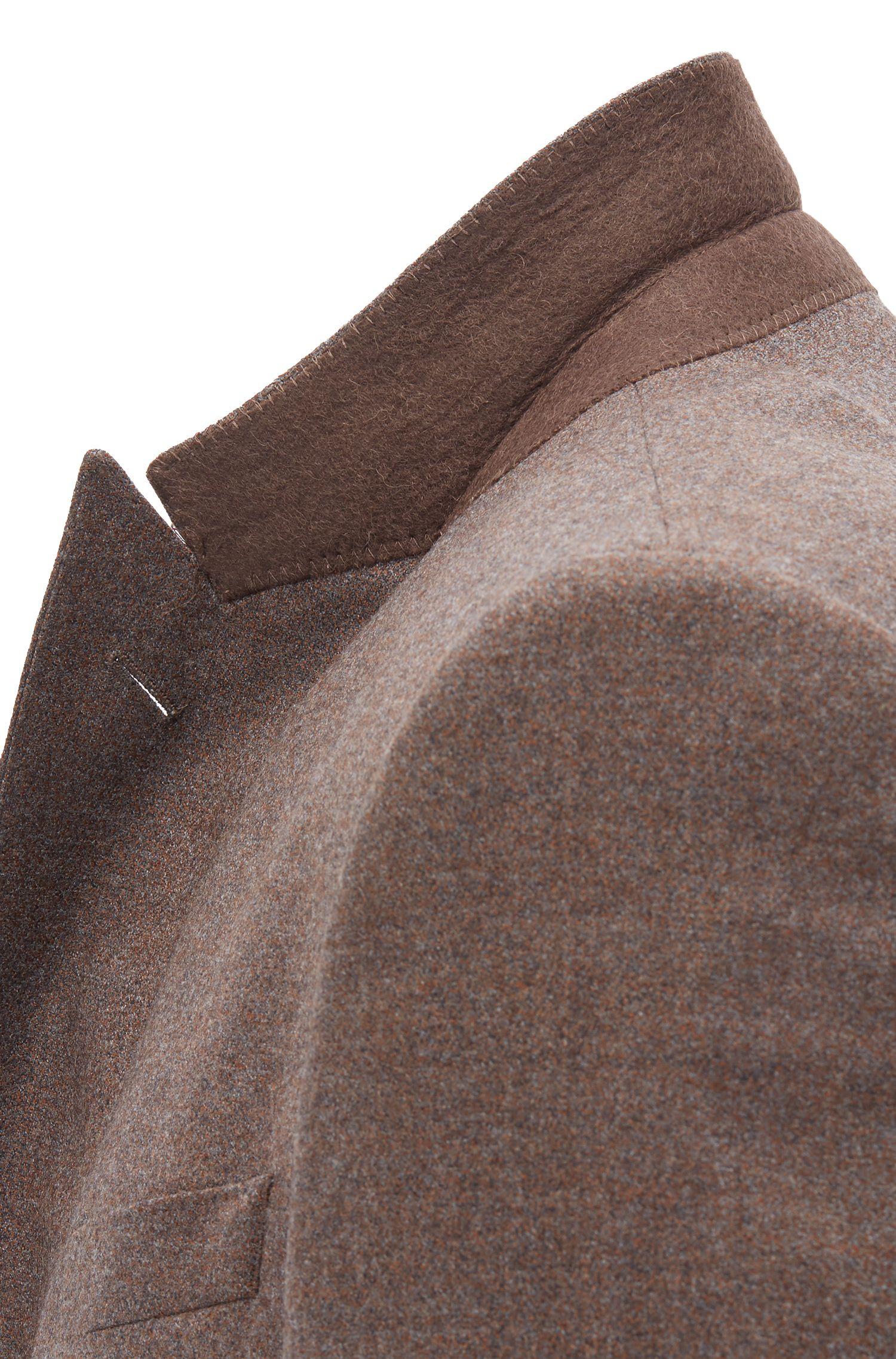 Slim-fit suit in melange virgin wool with stretch, Khaki