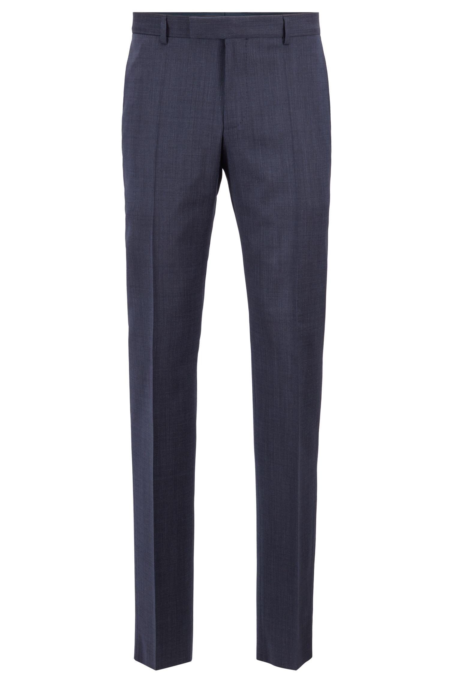 Slim-fit travel suit in stretch virgin wool serge, Dark Blue