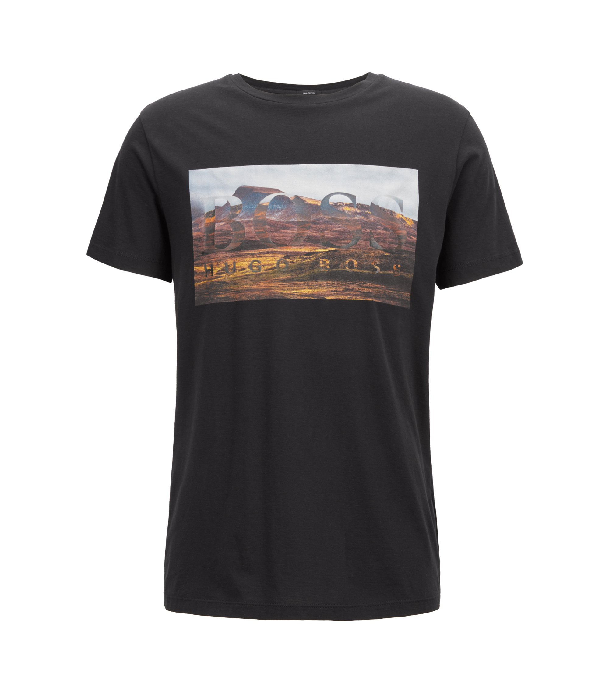 Crew-neck graphic T-shirt in washed Pima cotton, Black