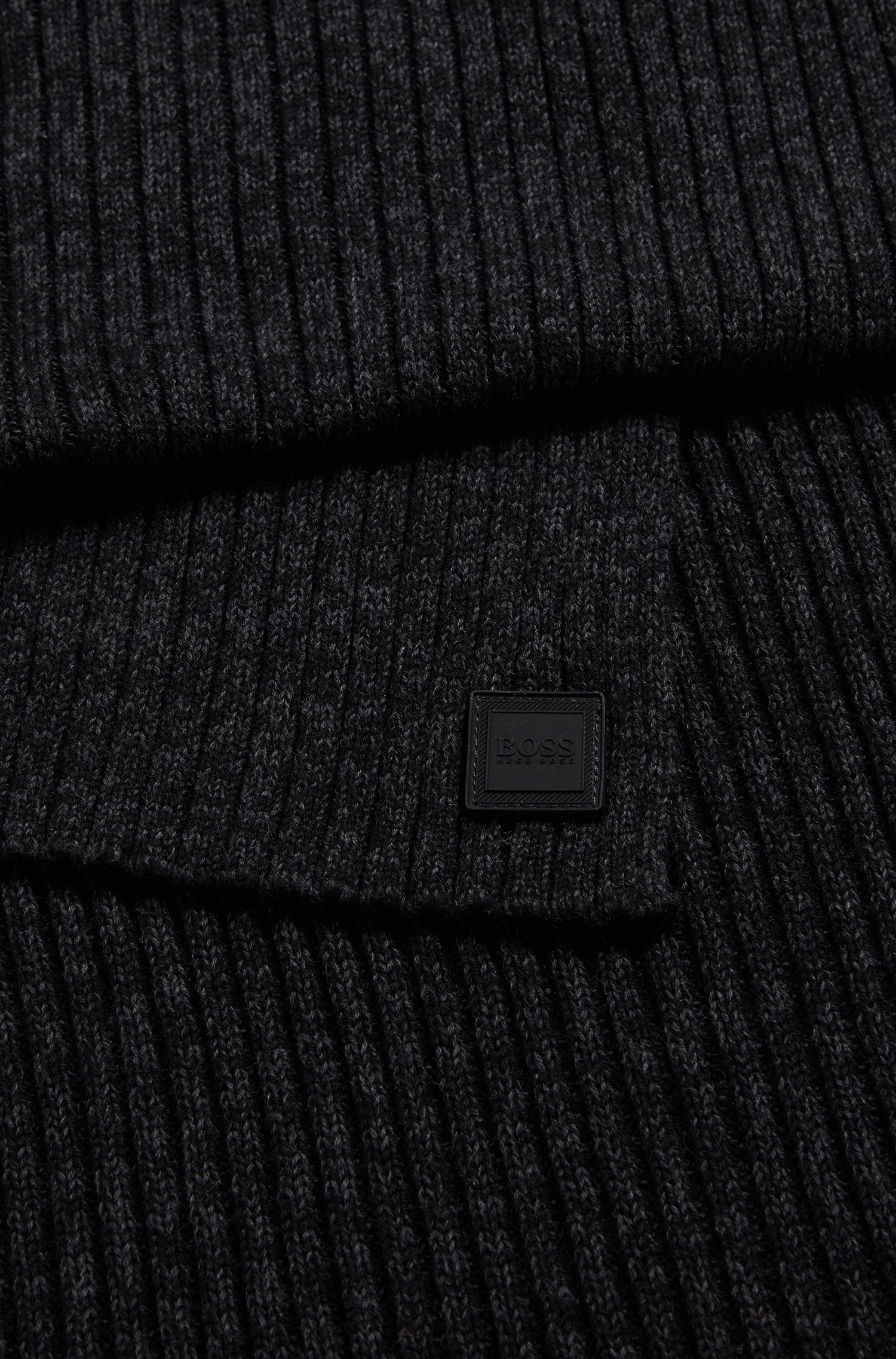 Ribbed scarf in a mouliné cotton blend, Black