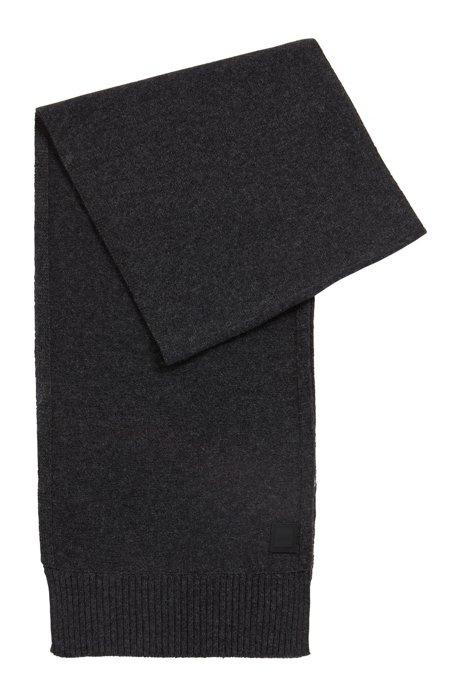 Structured-knit scarf in Italian yarn, Dark Grey