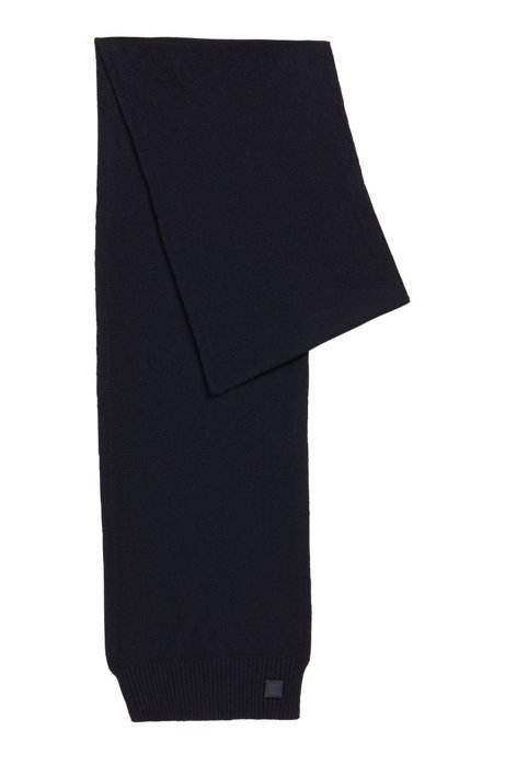 Structured-knit scarf in Italian yarn, Dark Blue