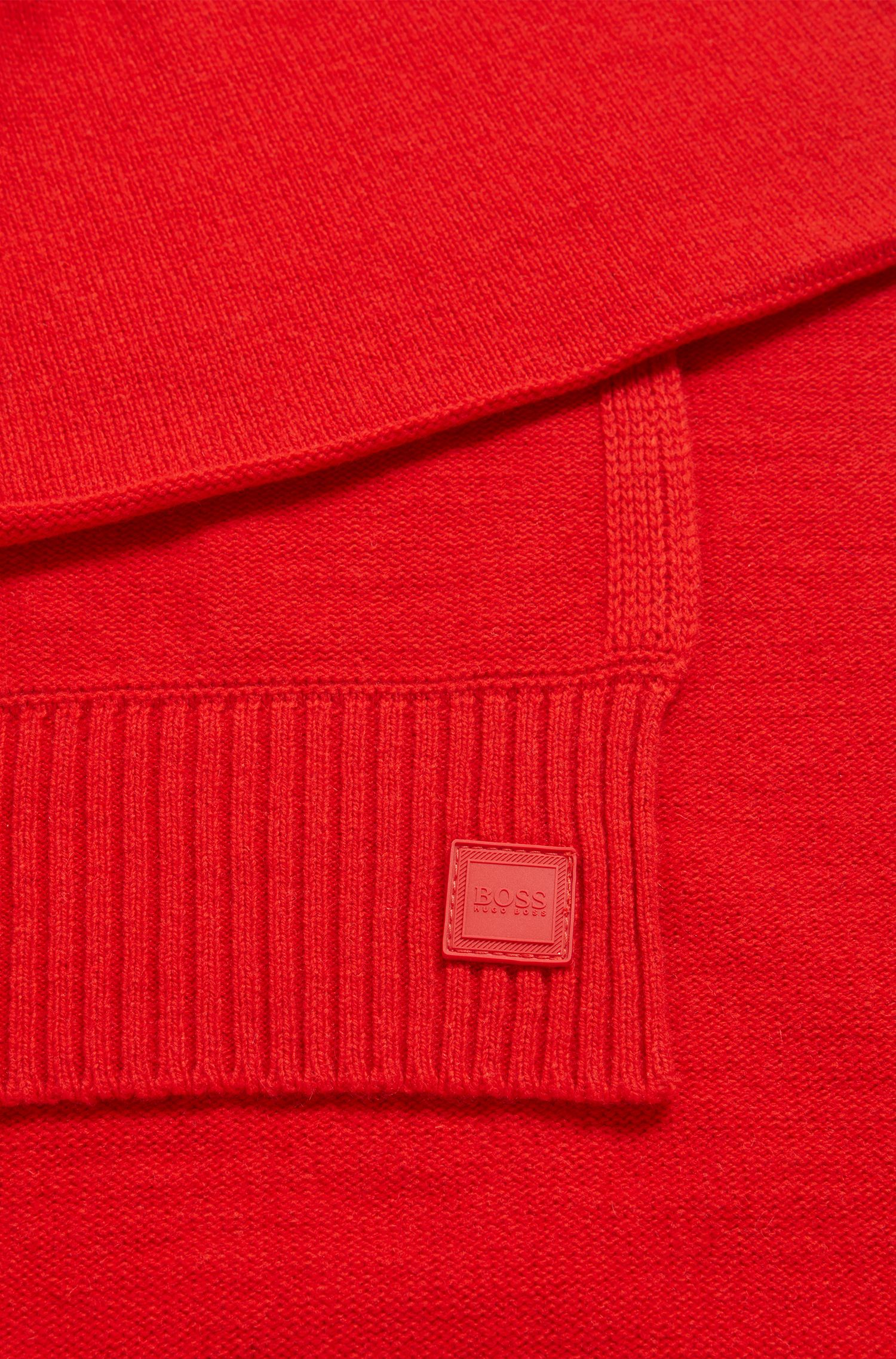 Structured-knit scarf in Italian yarn, Open Red