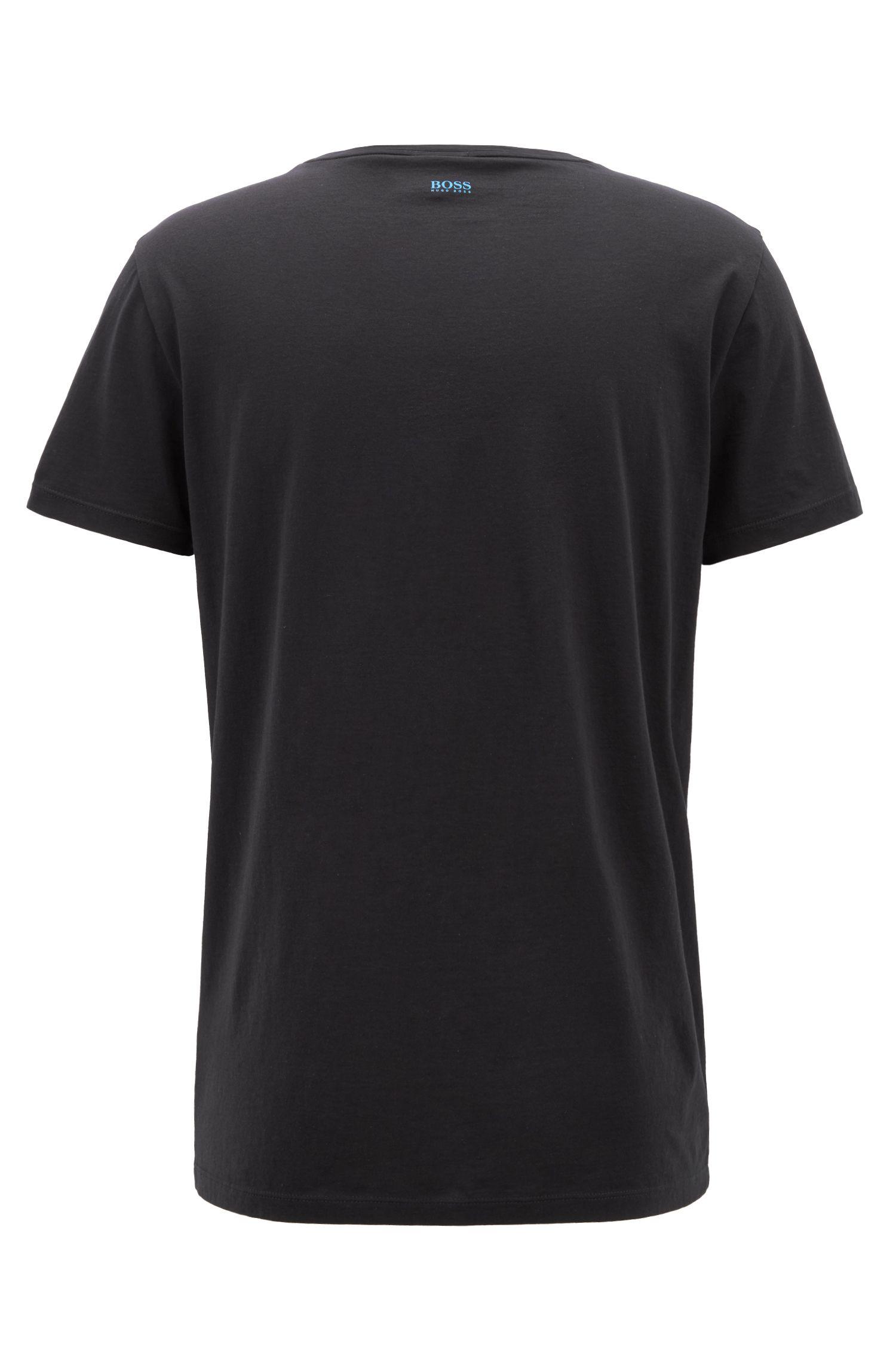 Crew-neck T-shirt in Pima cotton with photo print, Black