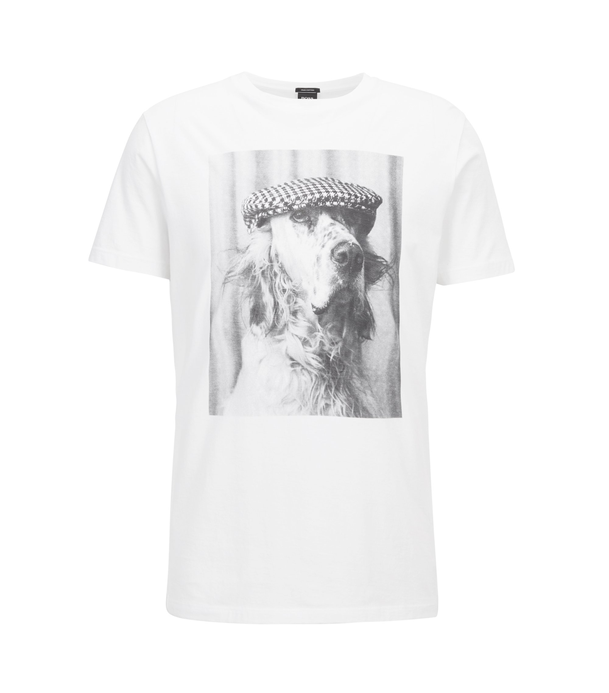 Crew-neck T-shirt in Pima cotton with photo print, White