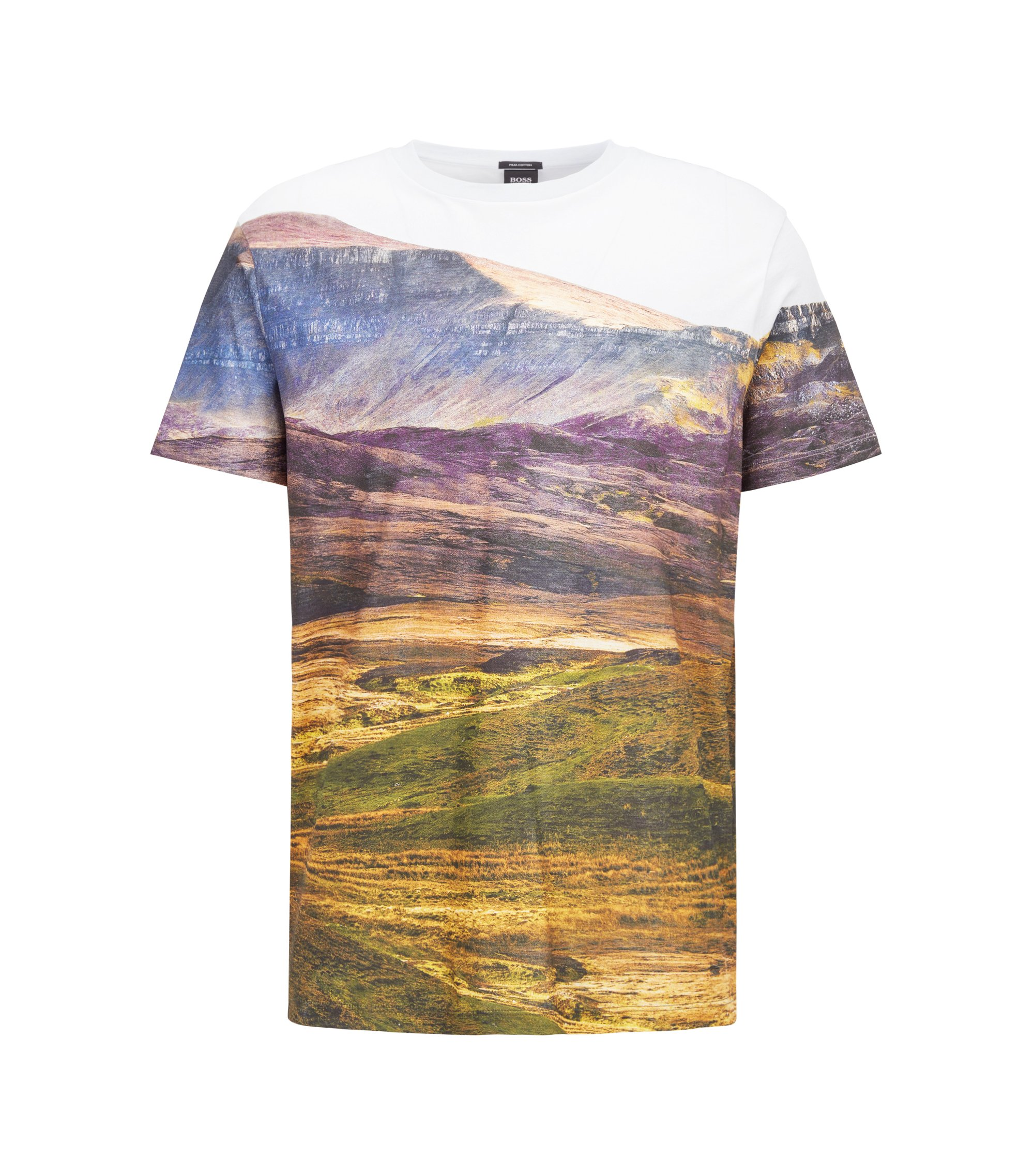 Relaxed-fit T-shirt in Pima cotton with landscape print, Patterned