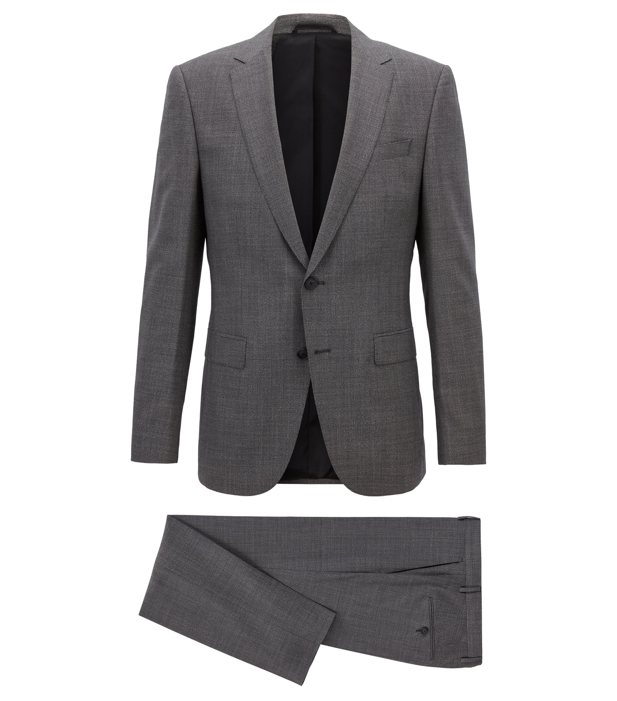 Slim-fit travel suit in micro-patterned virgin wool, Open Grey