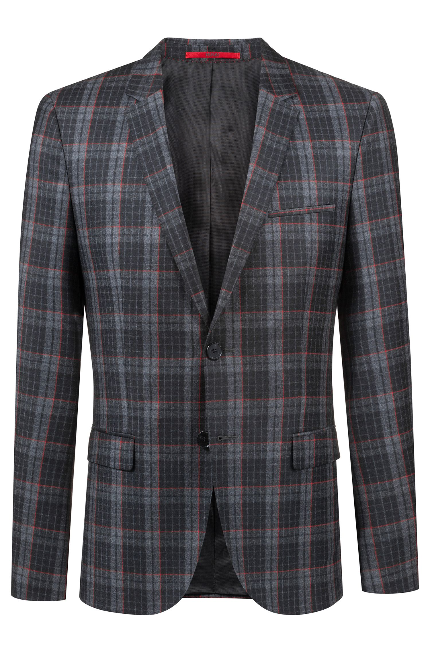 Extra-slim-fit virgin-wool jacket with Glen check pattern, Charcoal