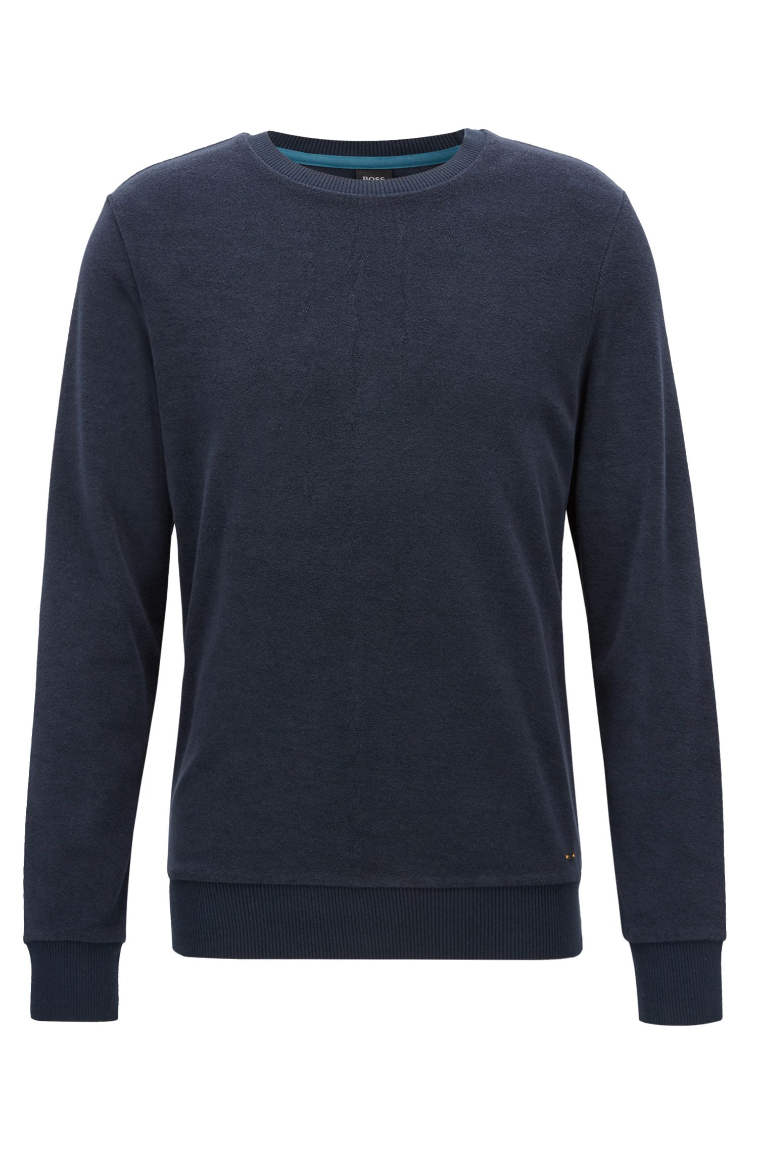 Regular-fit long-sleeved T-shirt in toweling jersey, Dark Blue