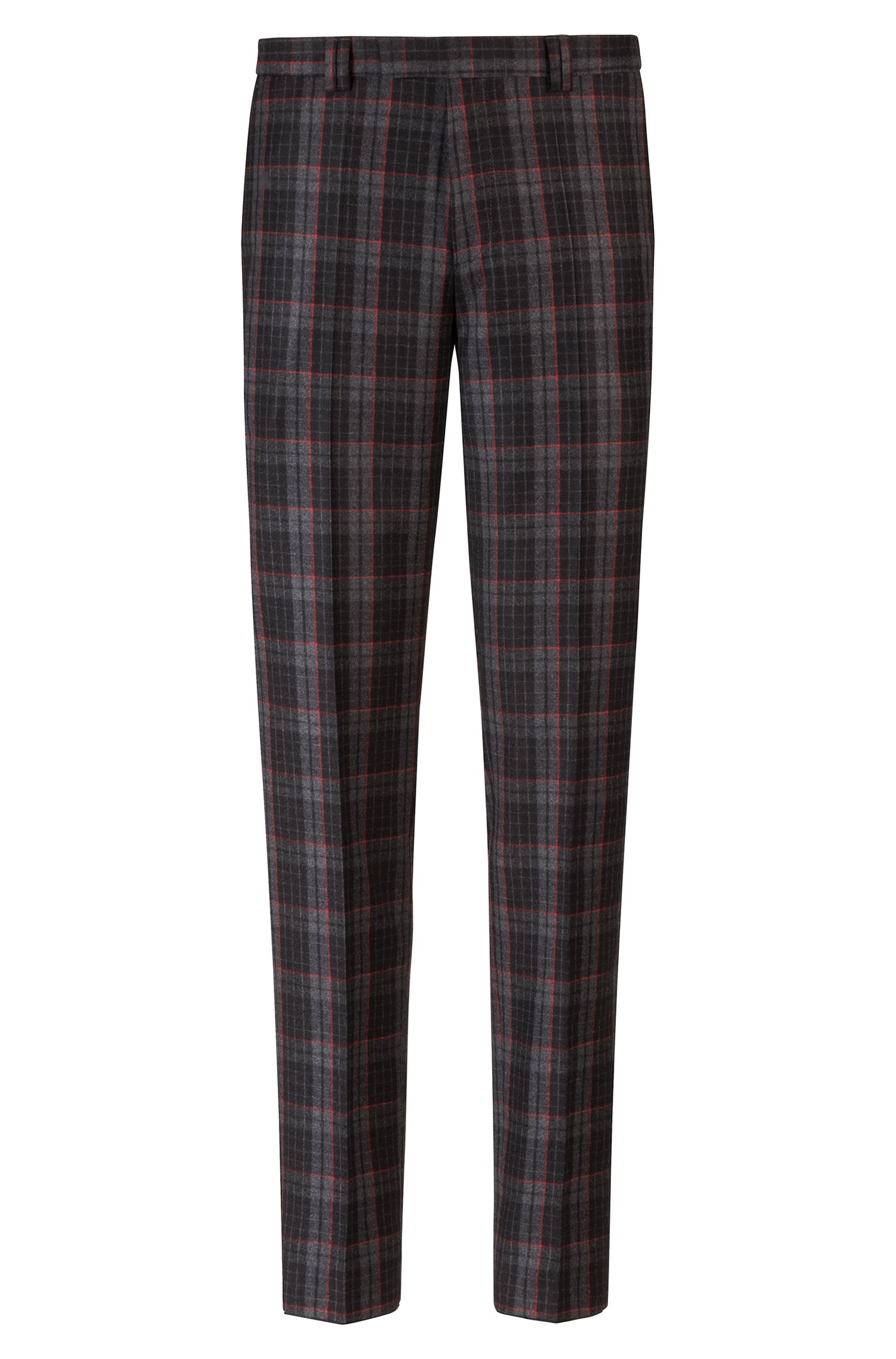 Extra-slim-fit virgin-wool pattern with Glen check pattern, Charcoal