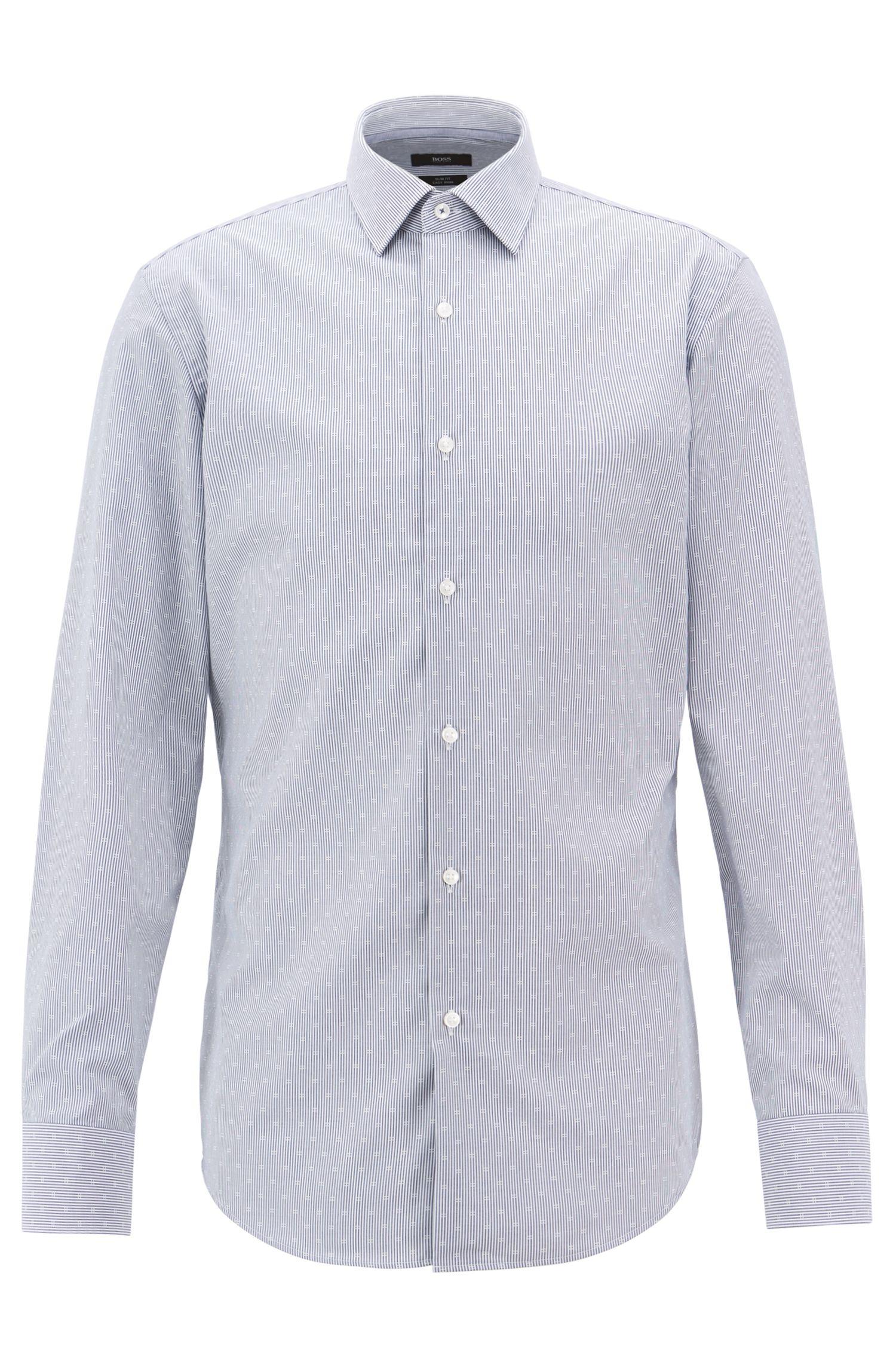 Easy-iron slim-fit shirt in striped dobby cotton, Dark Blue