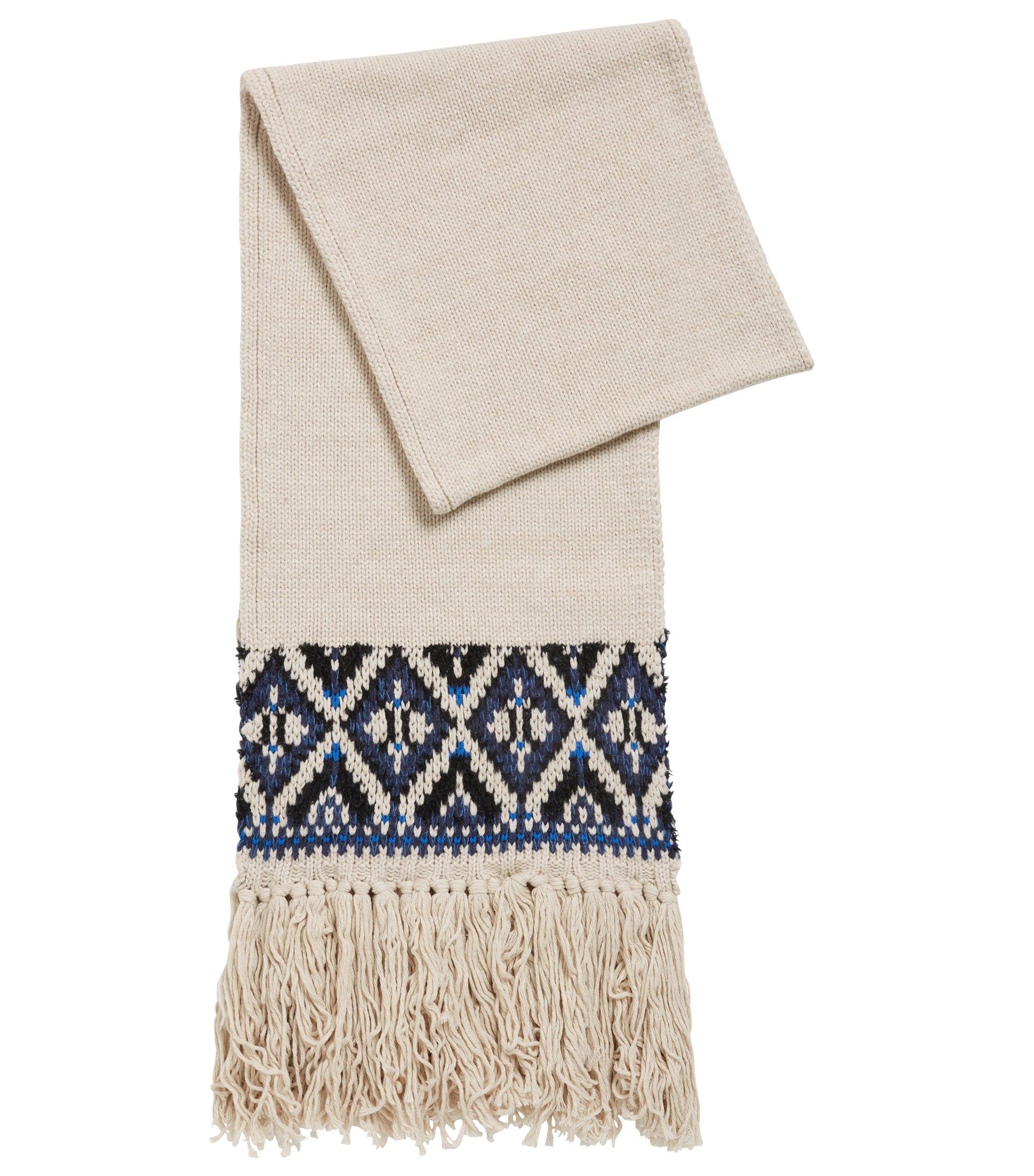 Fair Isle scarf in a blended bouclé yarn, Open Beige