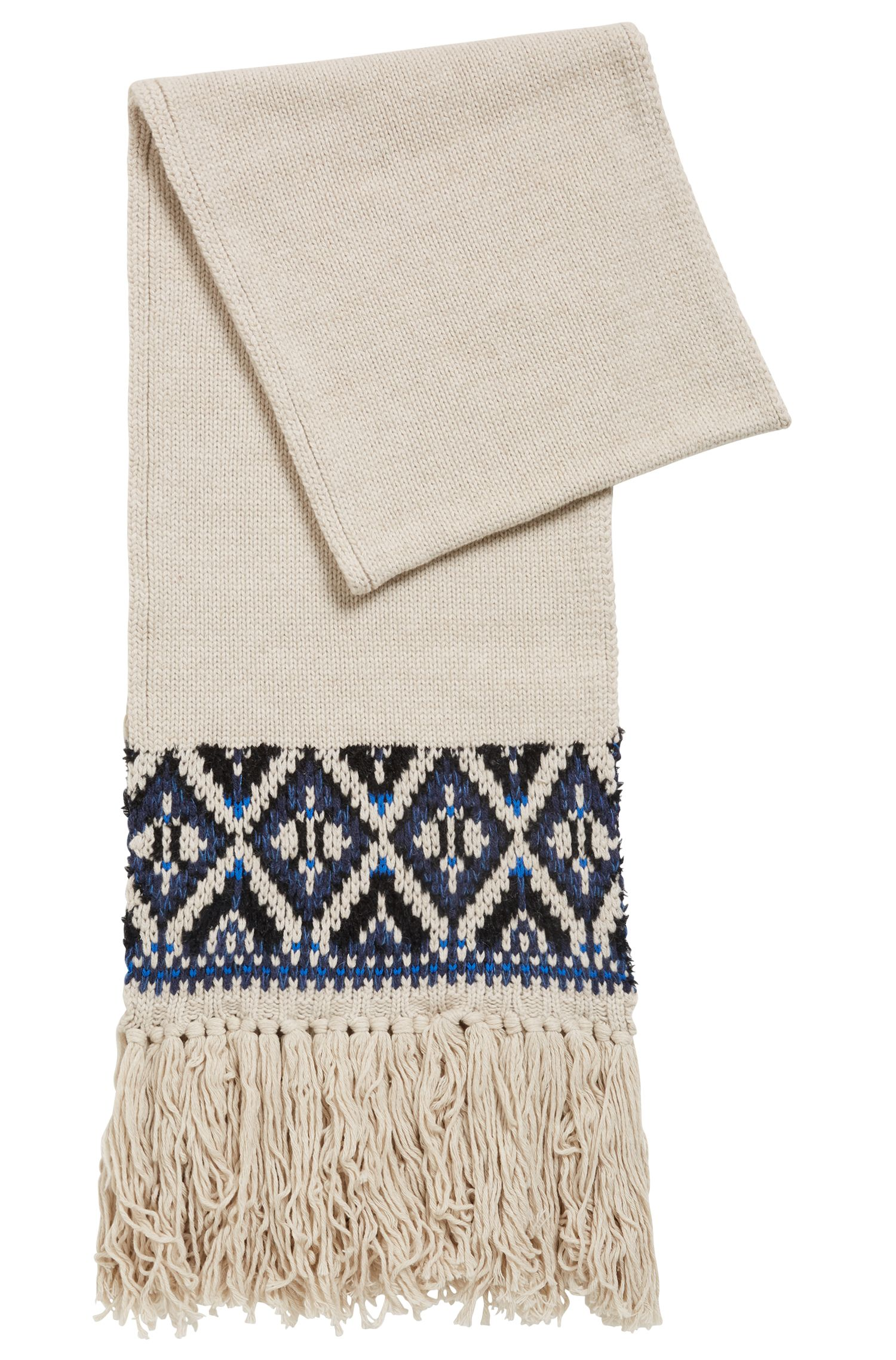 Fair Isle scarf in a blended bouclé yarn, Open Beige