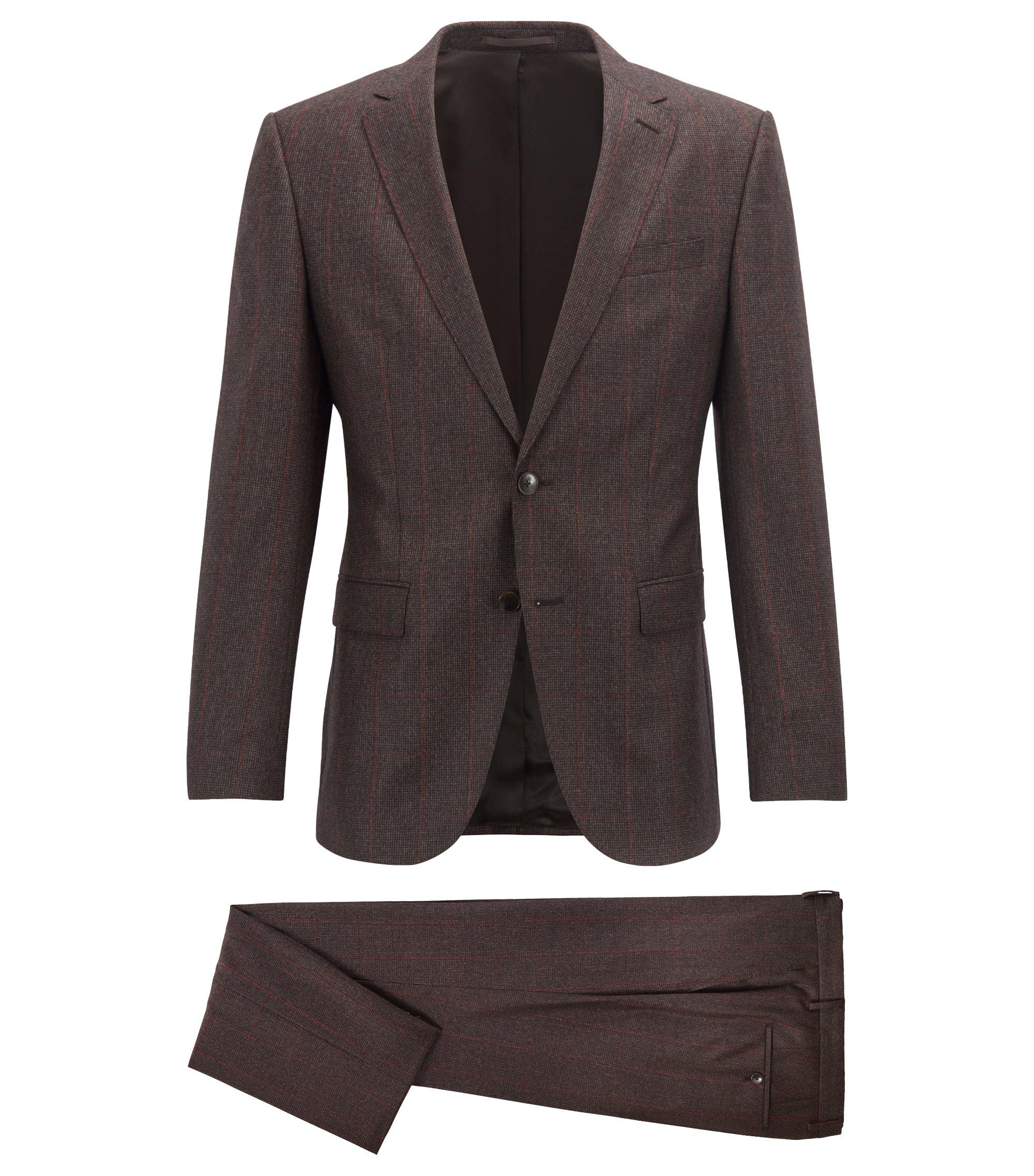 Slim-fit suit in checkered virgin wool, Dark Brown