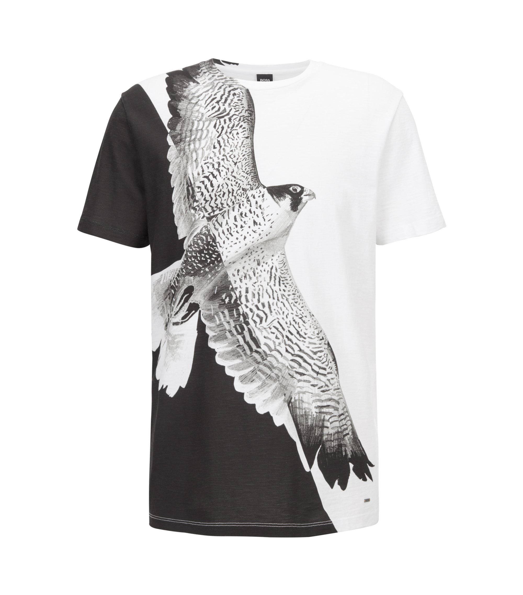 Relaxed-fit T-shirt in cotton with statement bird print, White