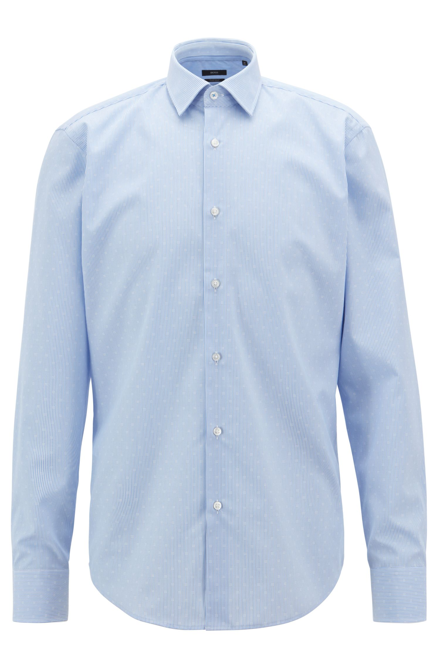 Regular-fit shirt in easy-iron dobby cotton poplin, Light Blue