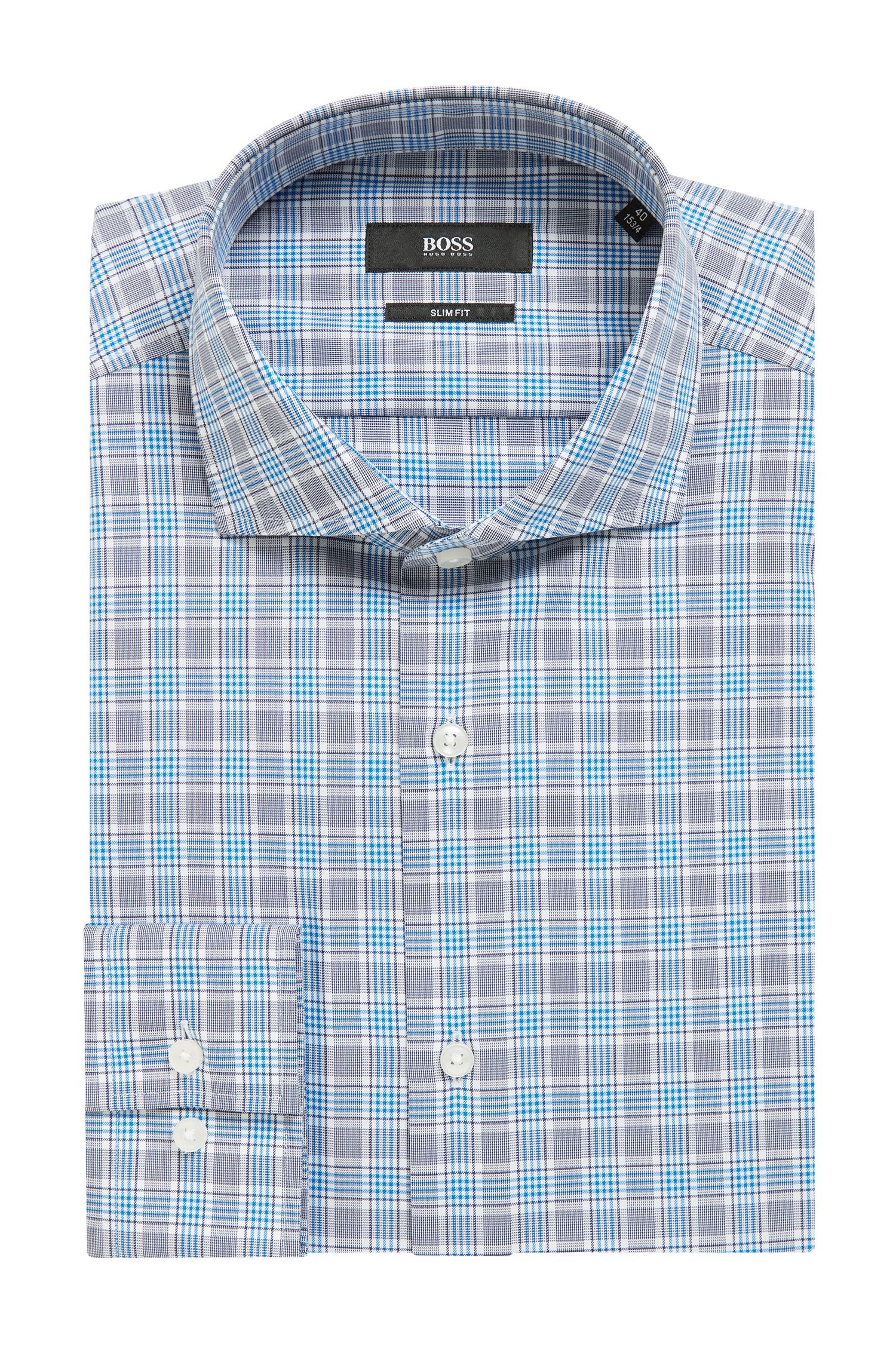Slim-fit shirt in Vichy-check cotton, Blue