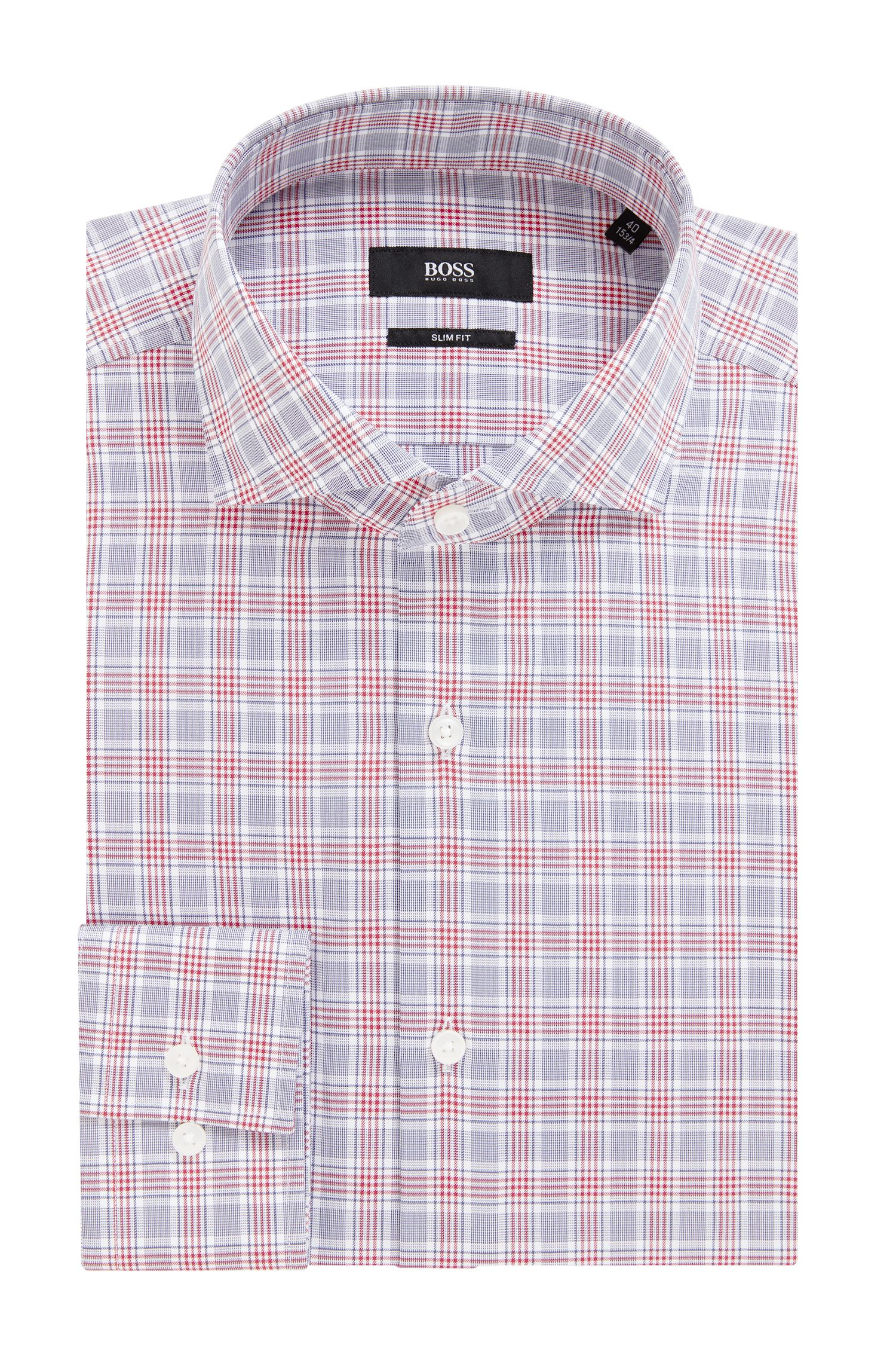 Slim-fit shirt in Vichy-check cotton, Dark Red