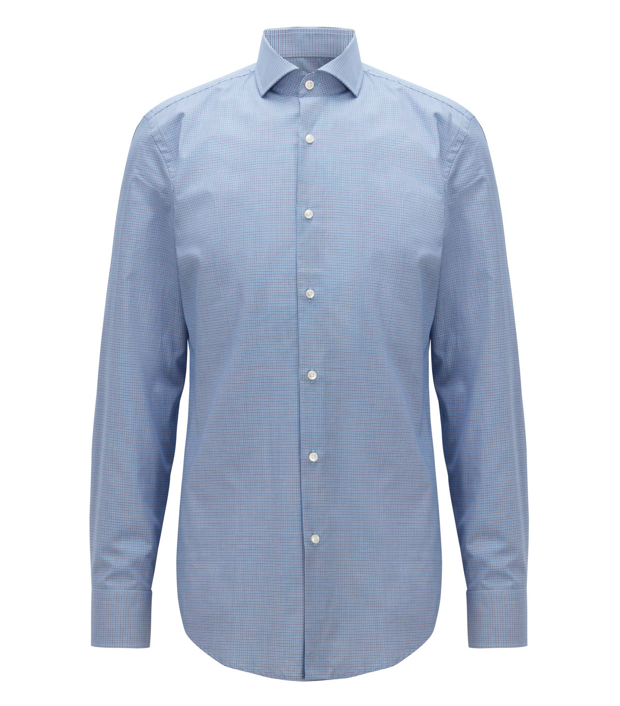 Slim-fit cotton shirt with two-color houndstooth pattern, Blue