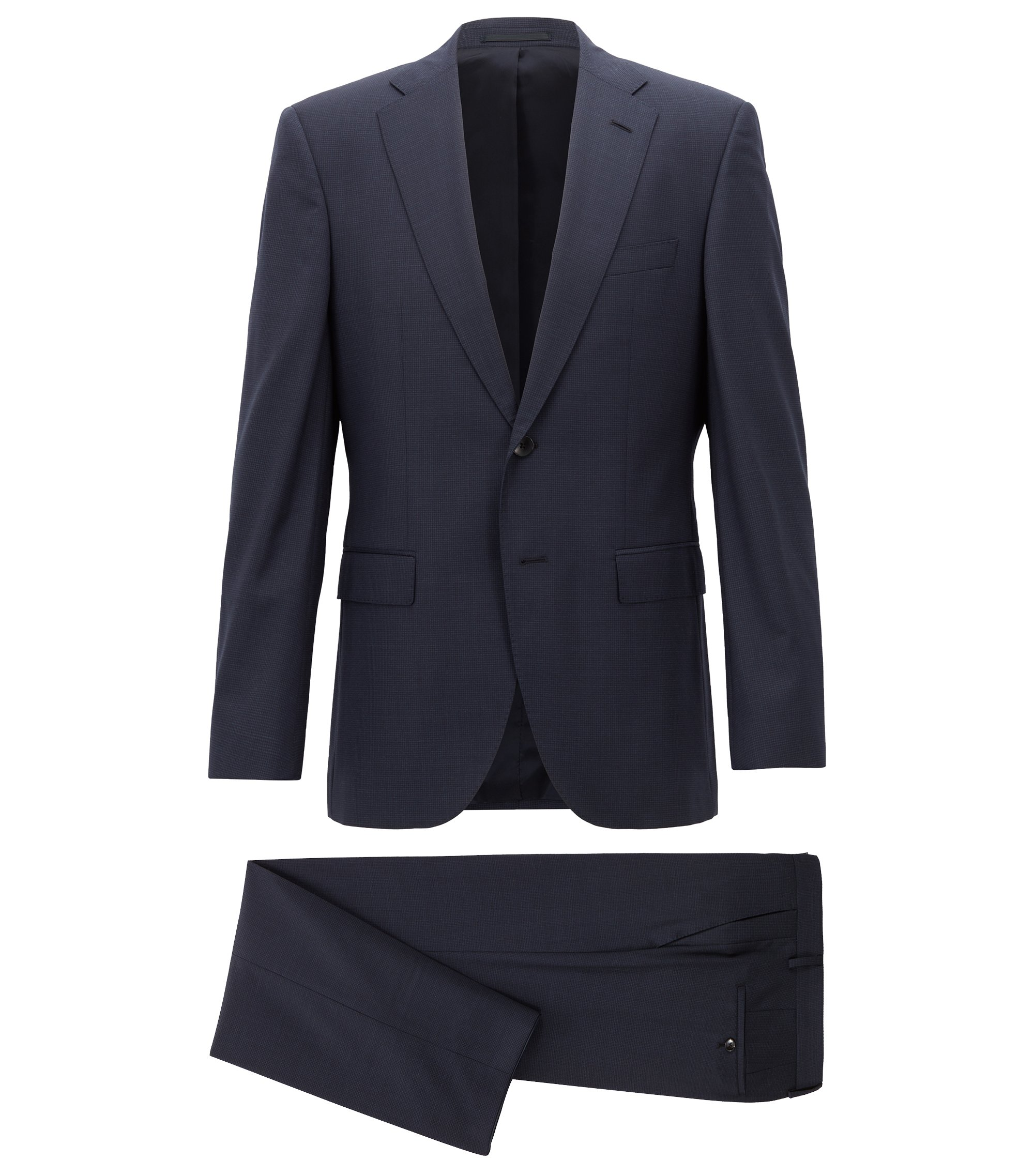 Regular-fit suit in micro-pattern virgin wool serge, Dark Blue