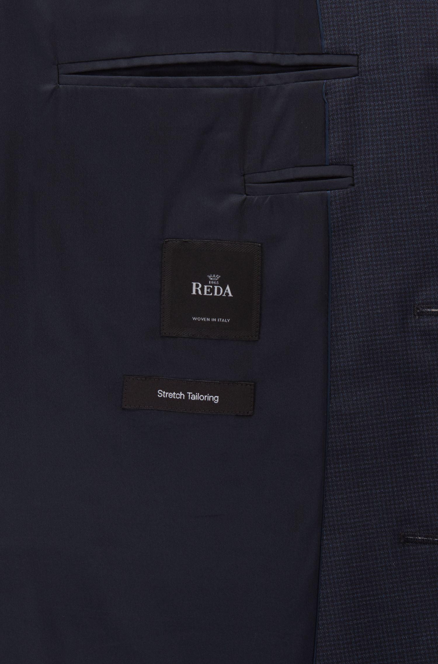 Regular-fit suit in micro-pattern virgin wool serge, Dark Blue