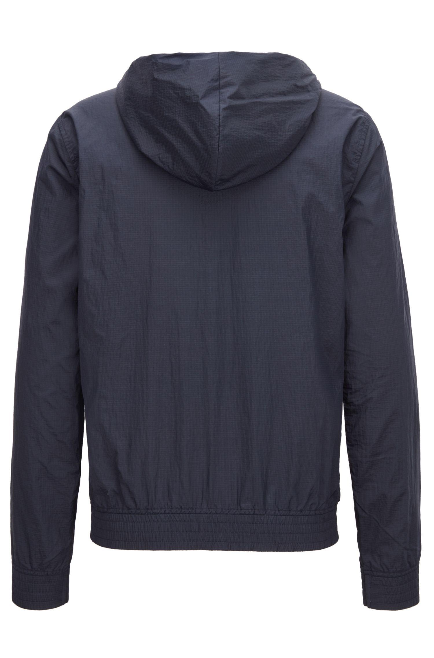 Reversible jacket with drawstring hood, Black