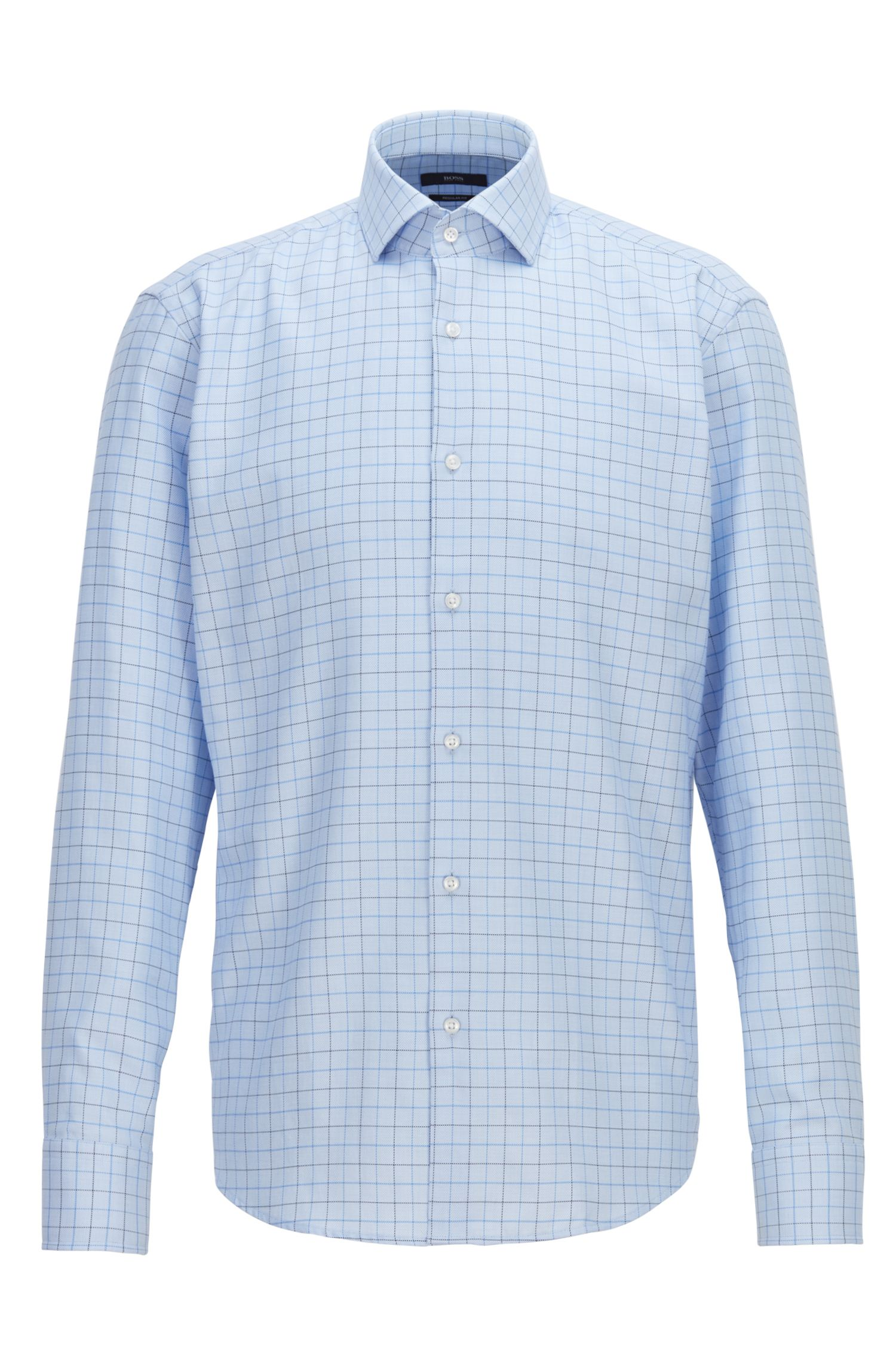 Regular-fit shirt in two-color checked cotton twill, Light Blue