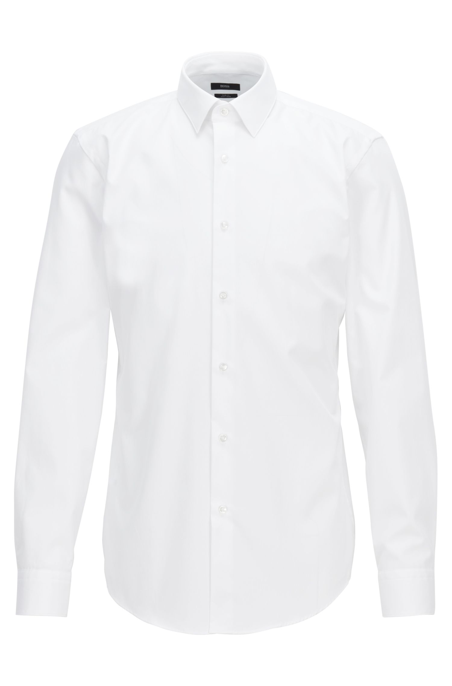 Austrian-made slim-fit shirt in easy-iron cotton, White