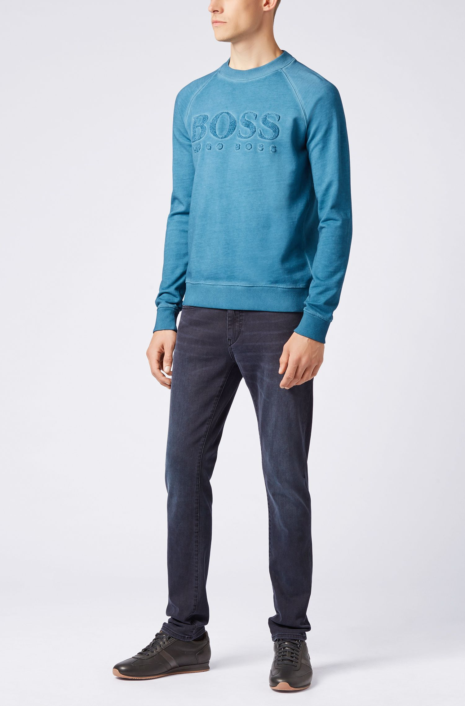 French-terry sweatshirt with embroidered logo, Open Blue