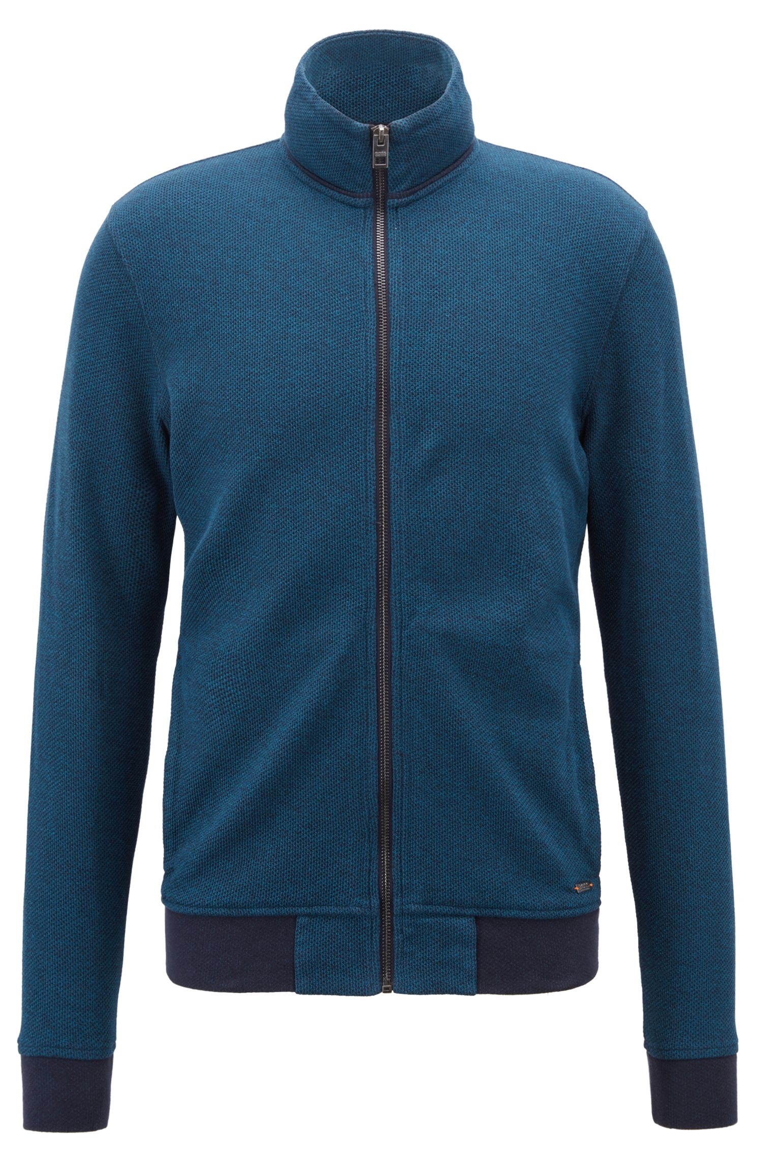 Zippered jersey jacket with mesh structure, Open Blue