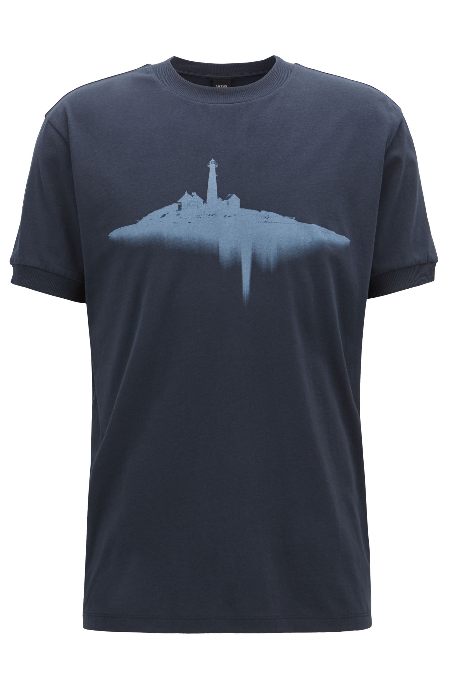 Relaxed-fit T-shirt in cotton with water-based print, Dark Blue