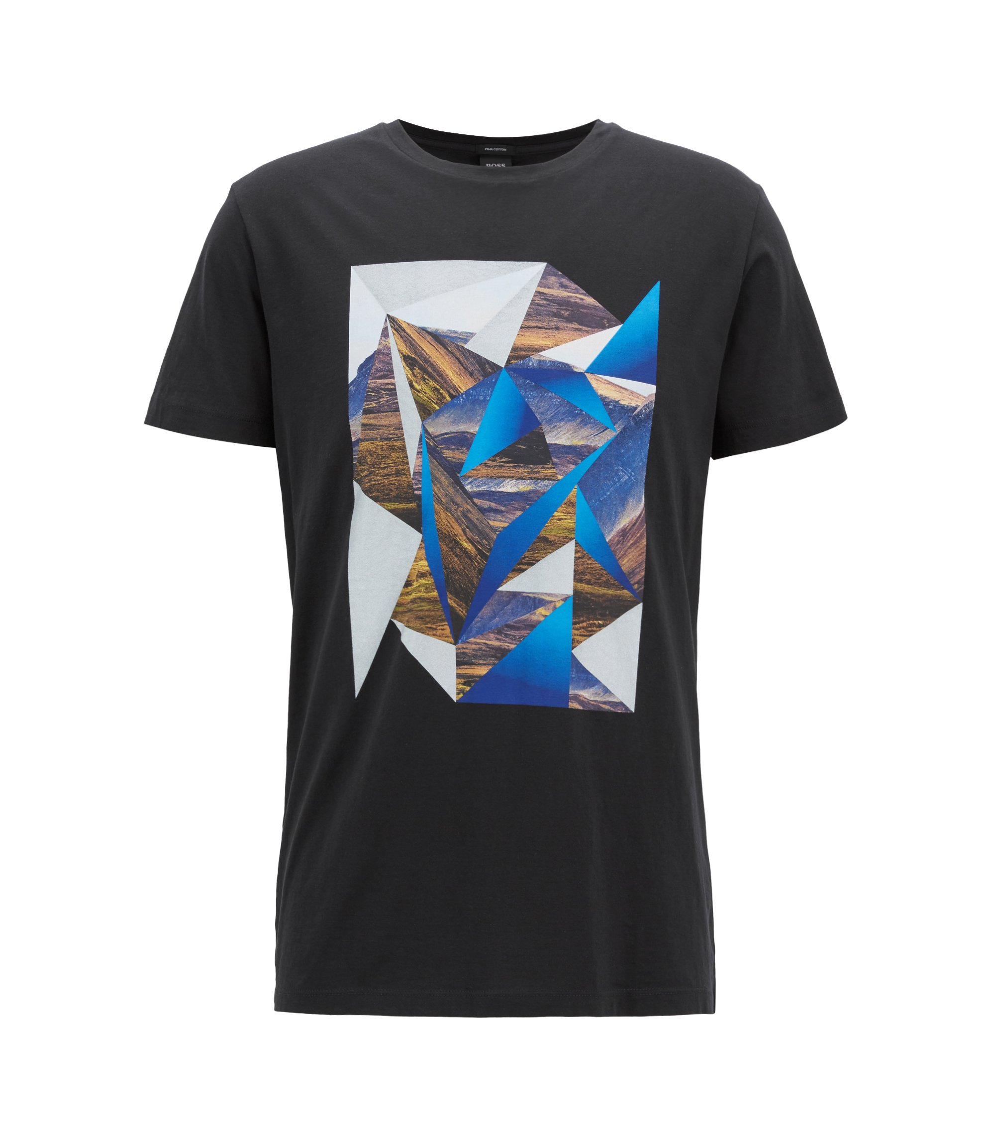 Crew-neck T-shirt in cotton with abstract landscape print, Black